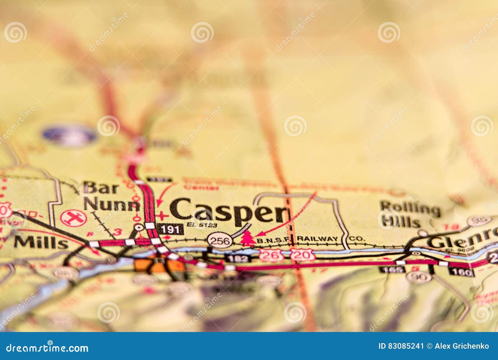Mapa del área de Casper Wyoming los E.E.U.U.