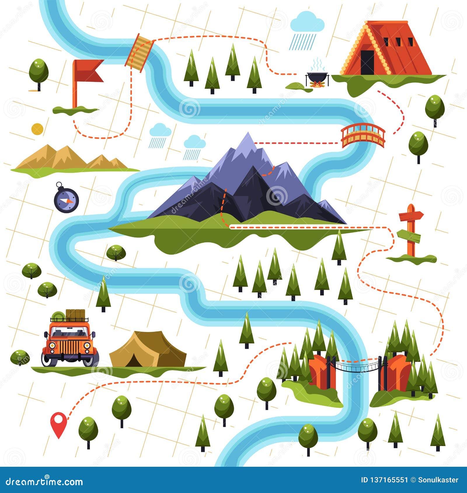 Mapa del bosque o bosque y montaña que camina el turismo