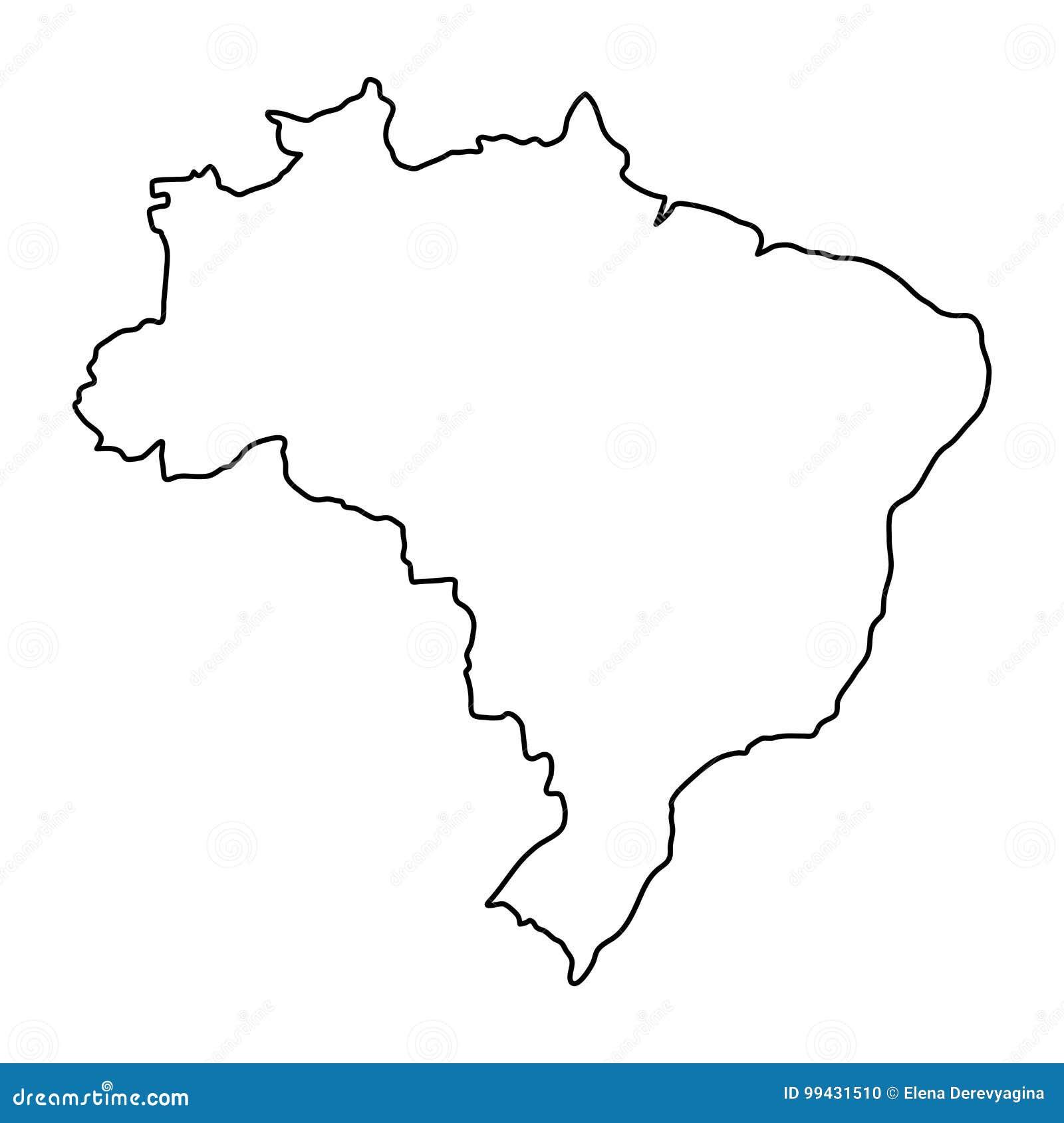 Mapa del Brasil del ejemplo negro del vector de curvas del contorno