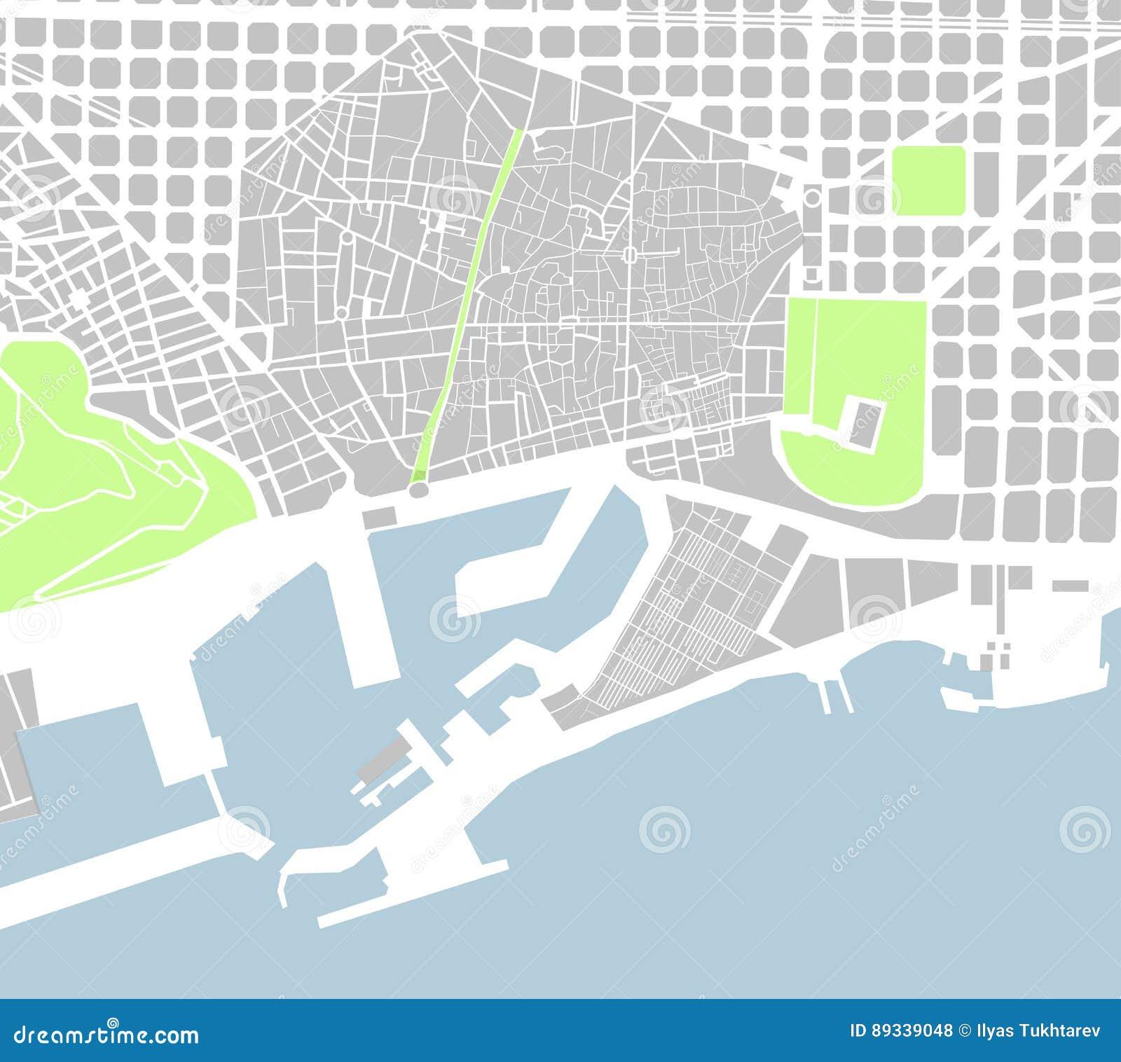 Mapa Del Centro De Ciudad De Barcelona Espana Ilustracion Del