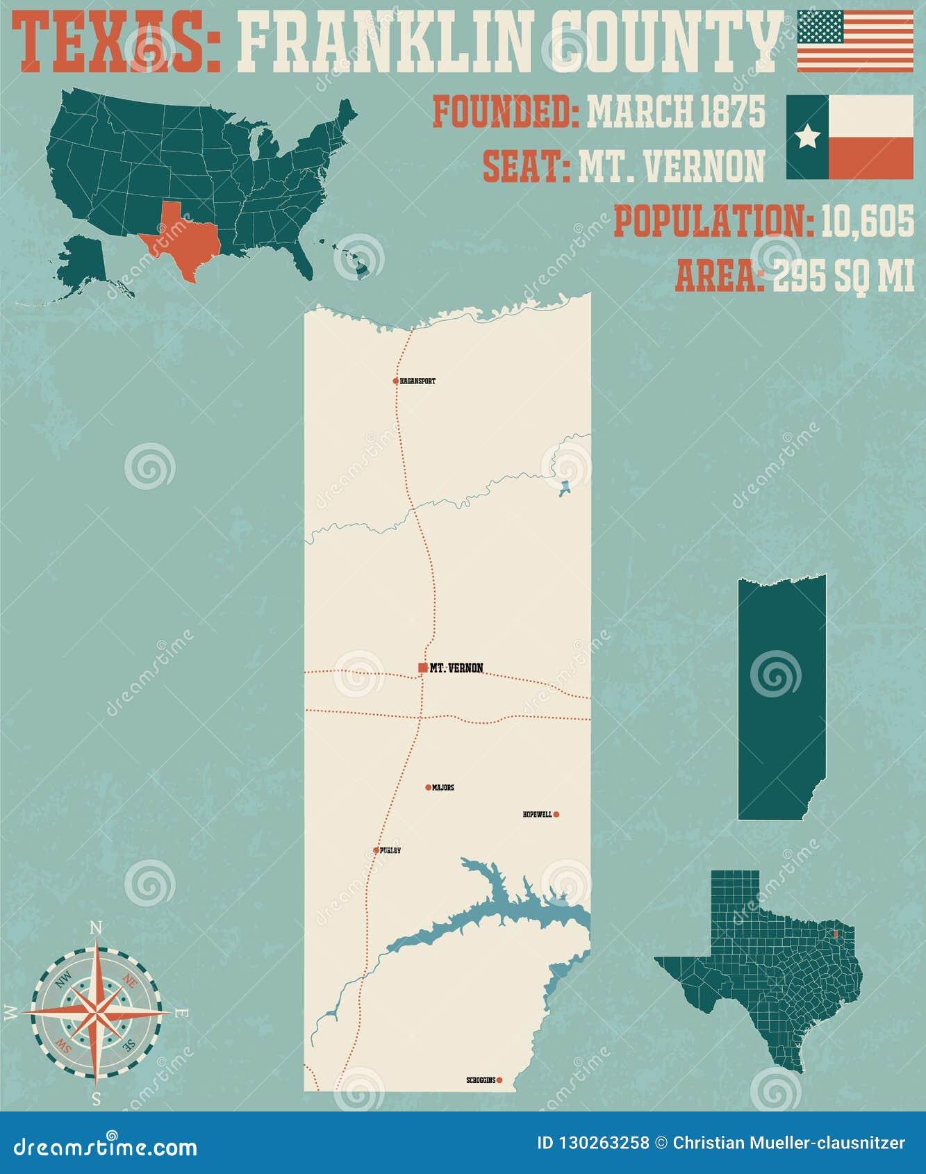 Mapa del condado de Franklin en Tejas