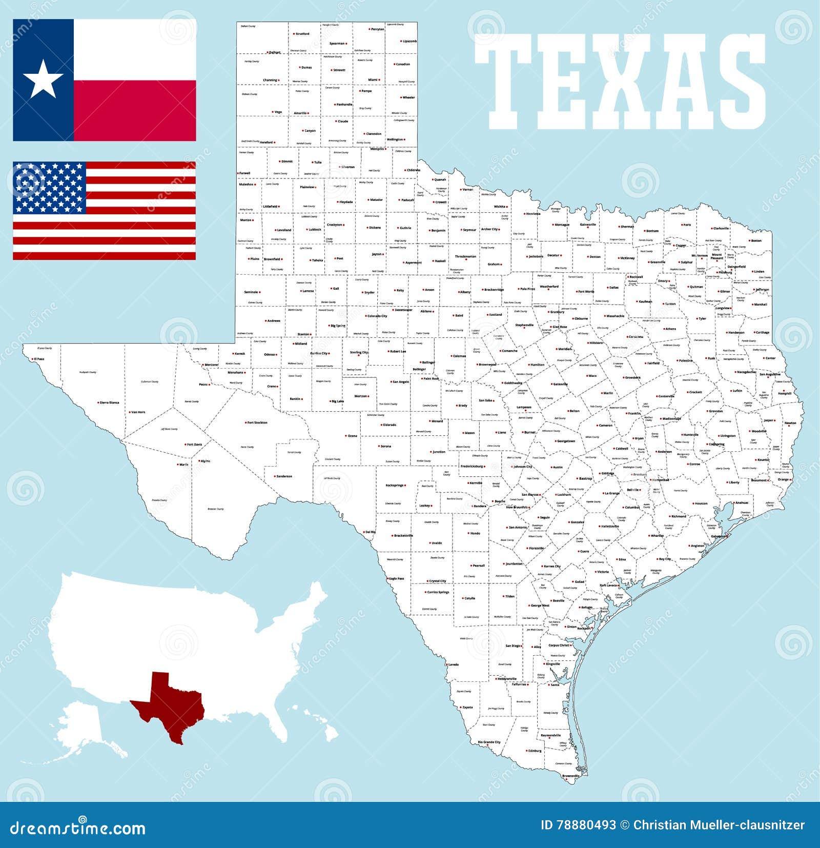 Mapa del condado de Texas ilustración del vector. Ilustración de ...