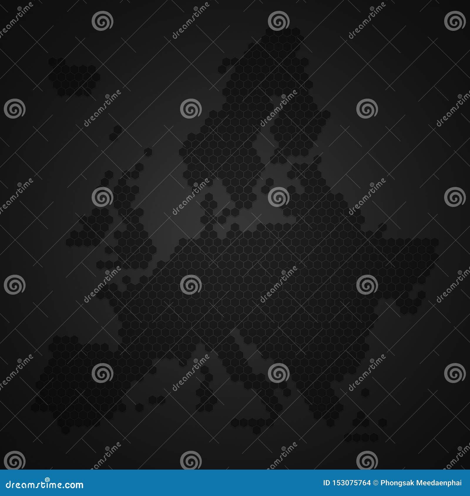 Mapa del continente de Europa con estilo de la forma de la colmena de la abeja o del panal o de la miel de la miel con la sombra