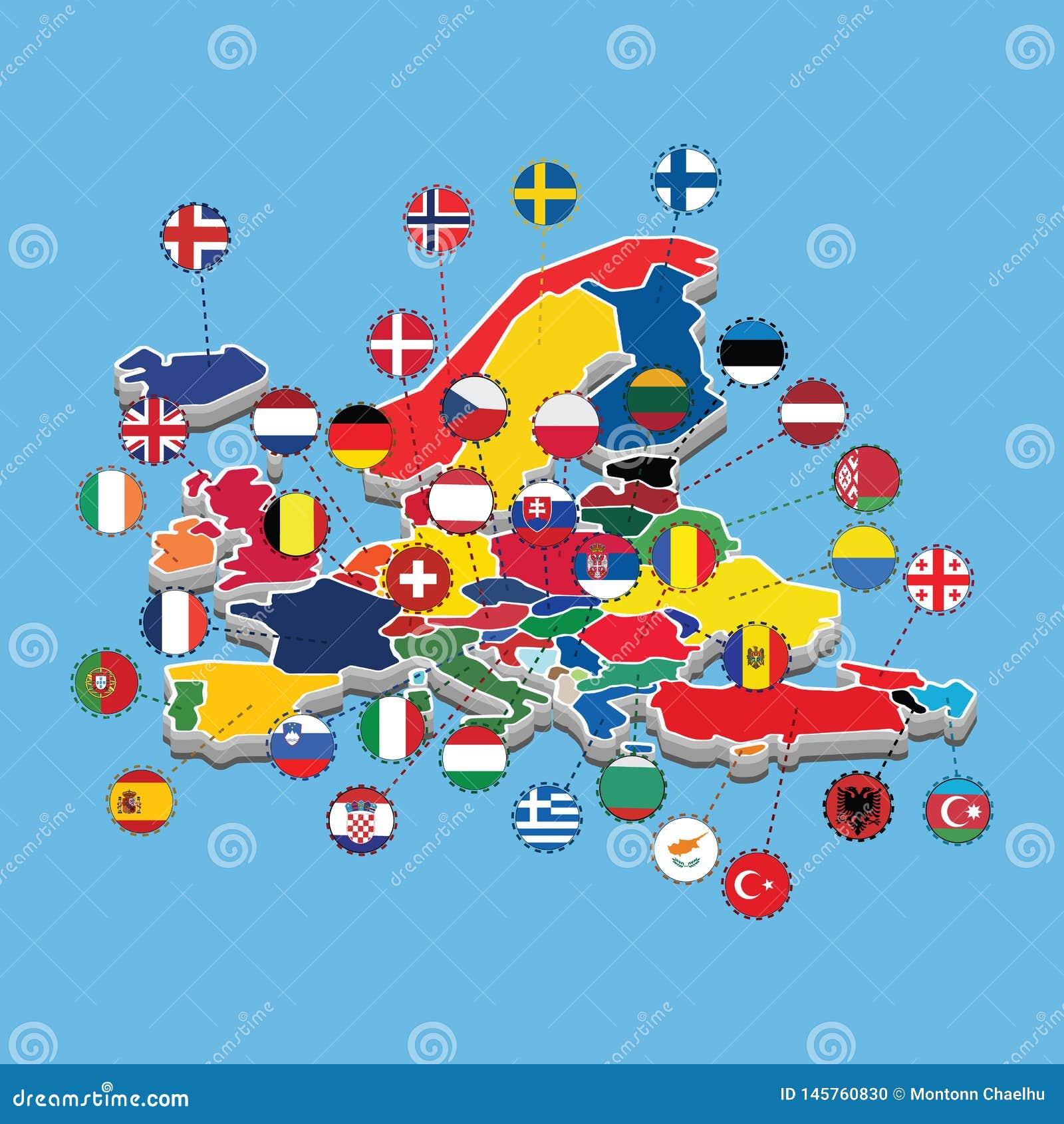 Mapa del ejemplo isom?trico occidental del vector de la bandera de Europa