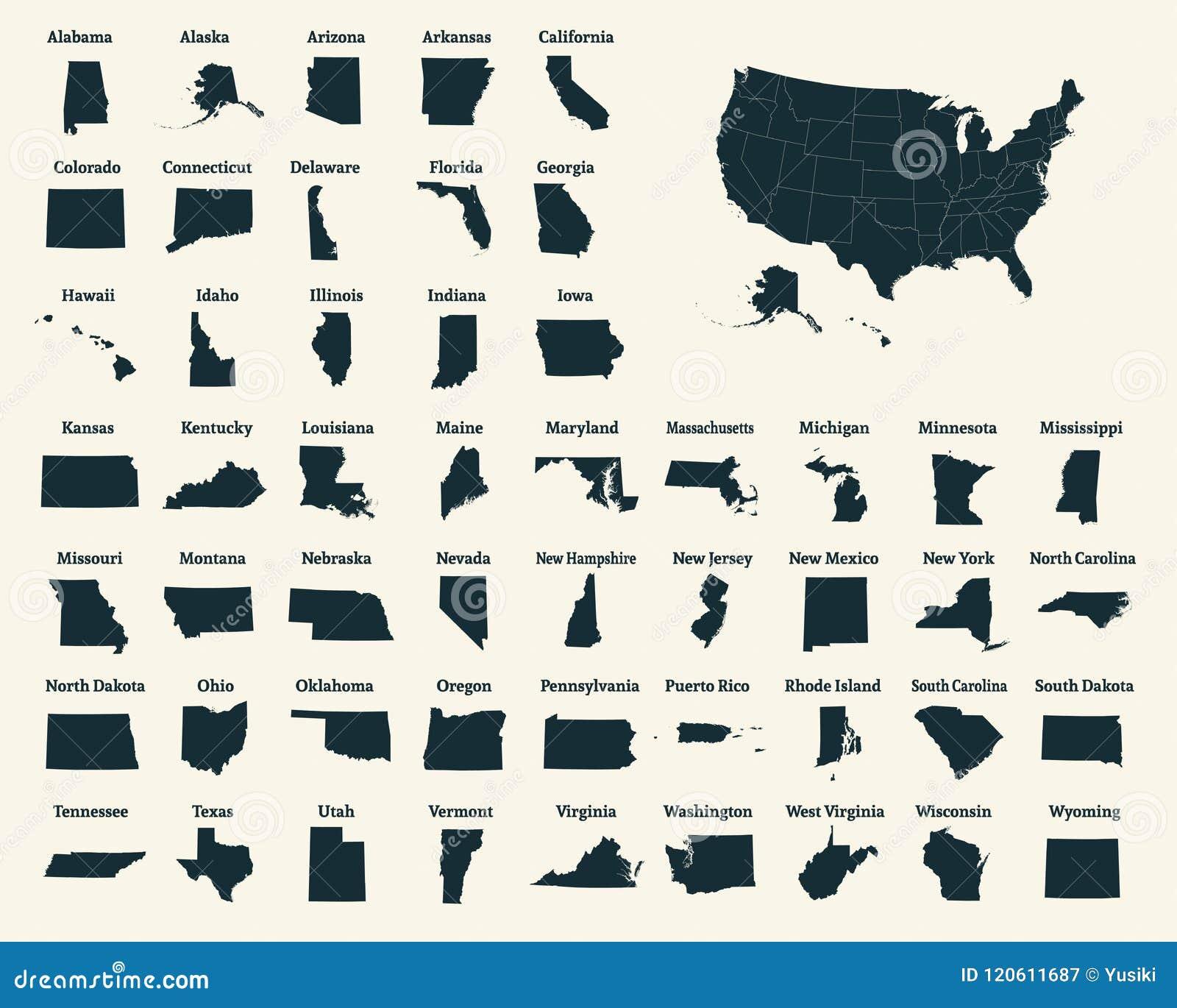 Mapa Del Esquema De Los Estados Unidos De América 50 Estados De Los E E U U Stock De Ilustración Ilustración De Vermont West 120611687
