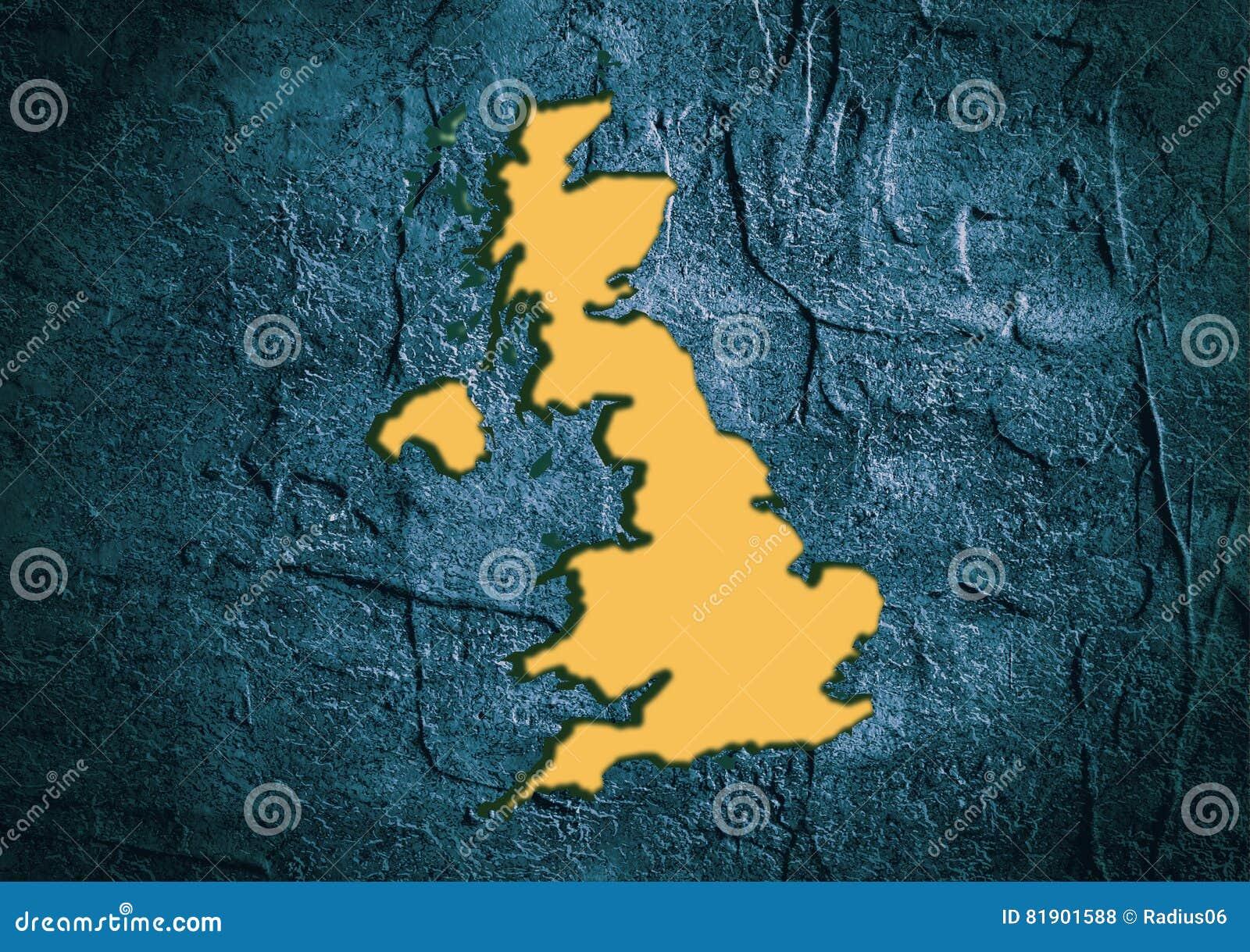 Mapa Del Estado De Gran Bretaña En Marco Texturizado Hormigón Stock ...