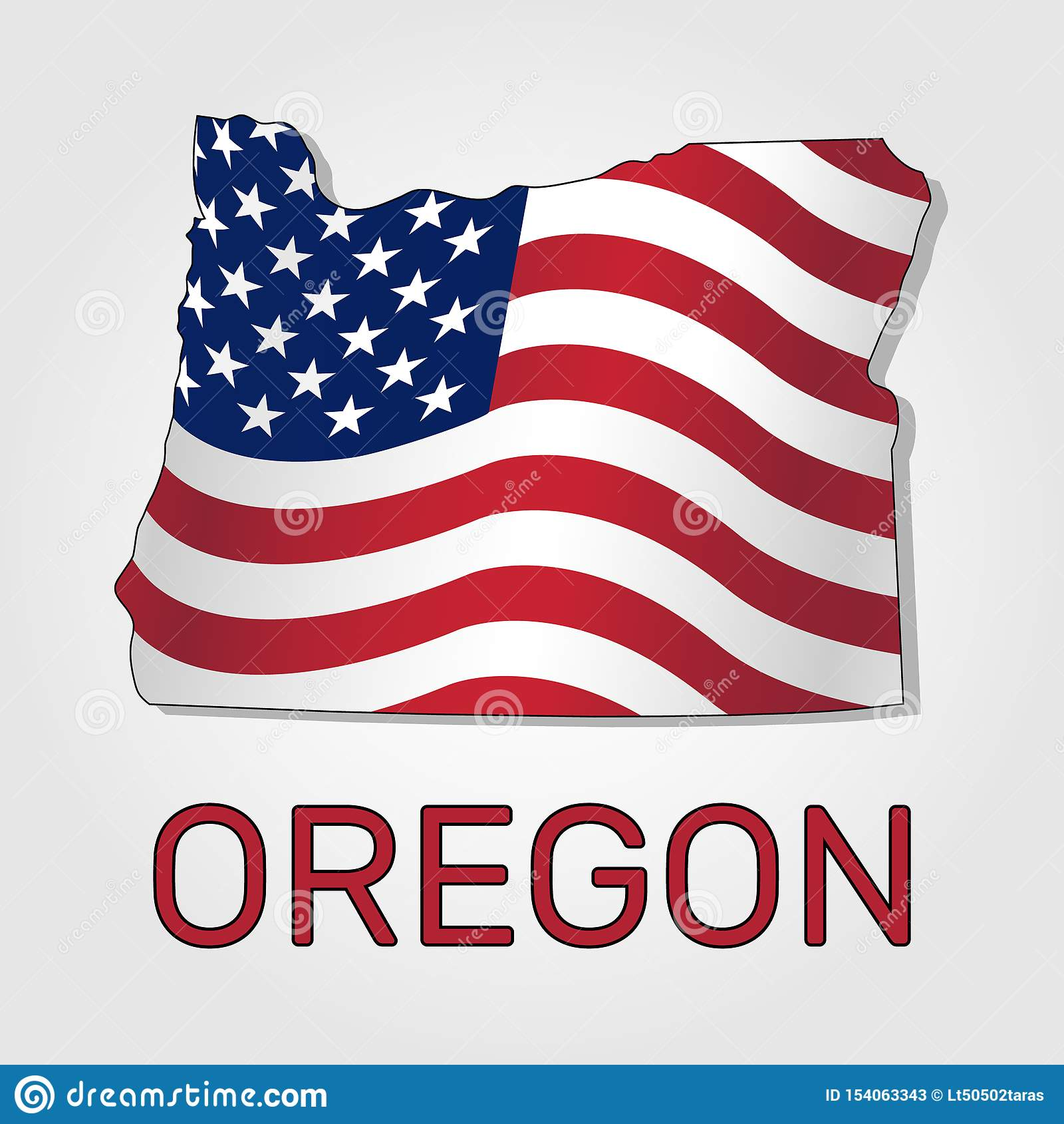 Mapa del estado de Oregon conjuntamente con a que agita la bandera de los Estados Unidos - vector