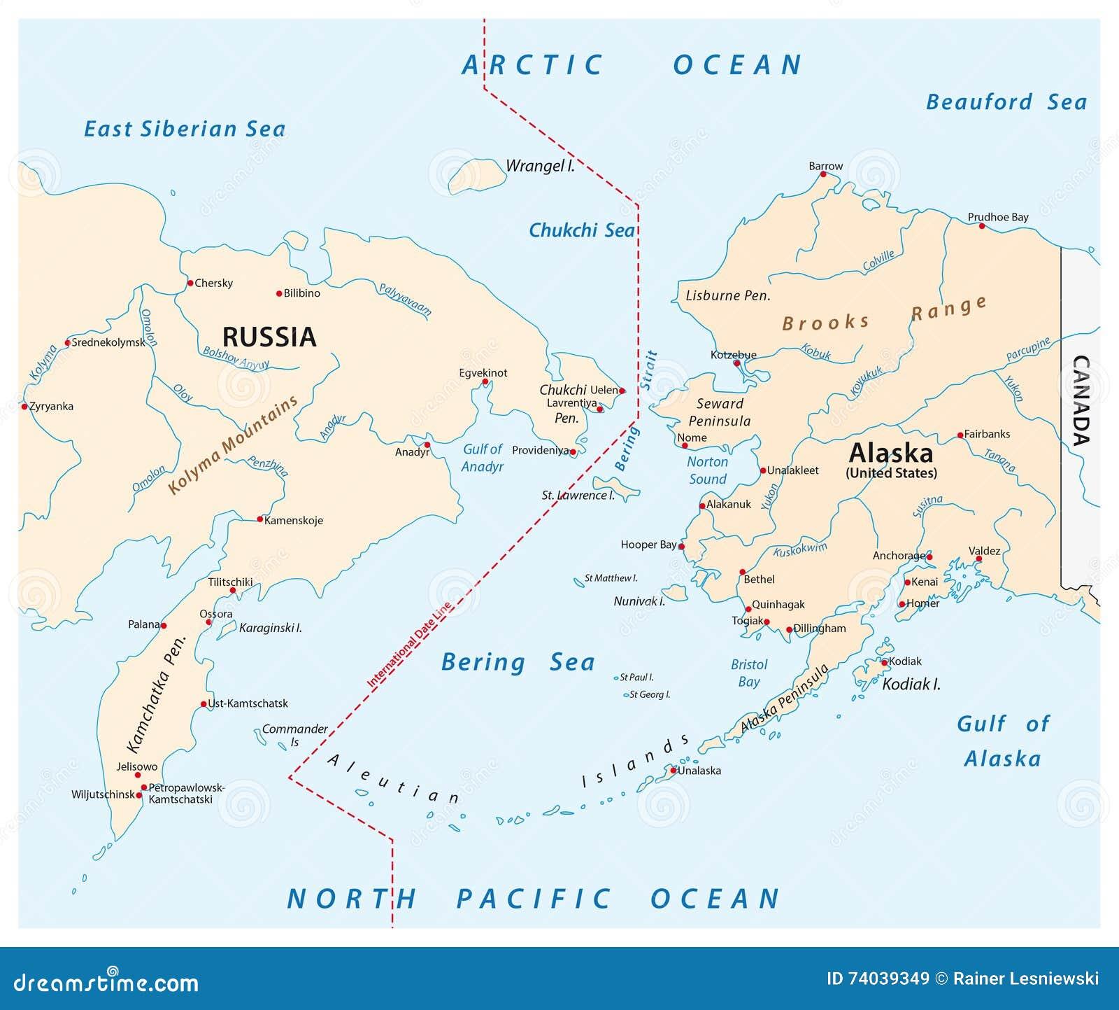 Mapa Del Estrecho De Bering Entre Rusia Y Alaska Stock De Ilustración Ilustración De Estrecho Océano 74039349