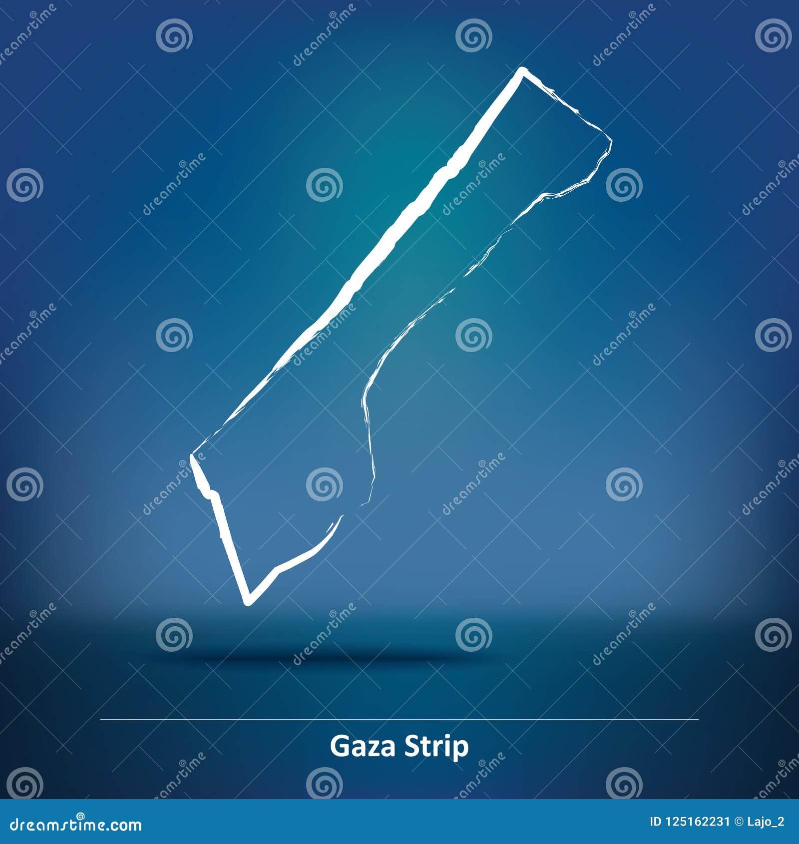 Mapa del garabato de la Franja de Gaza