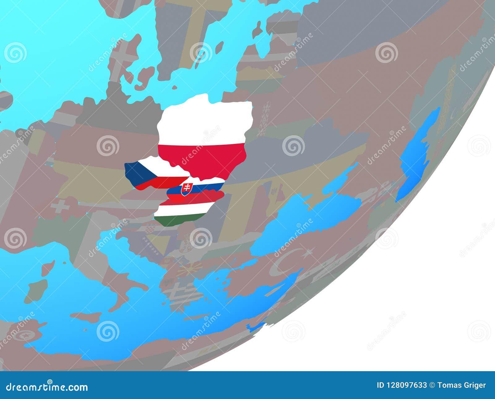 Mapa del grupo de Visegrado con la bandera en el globo