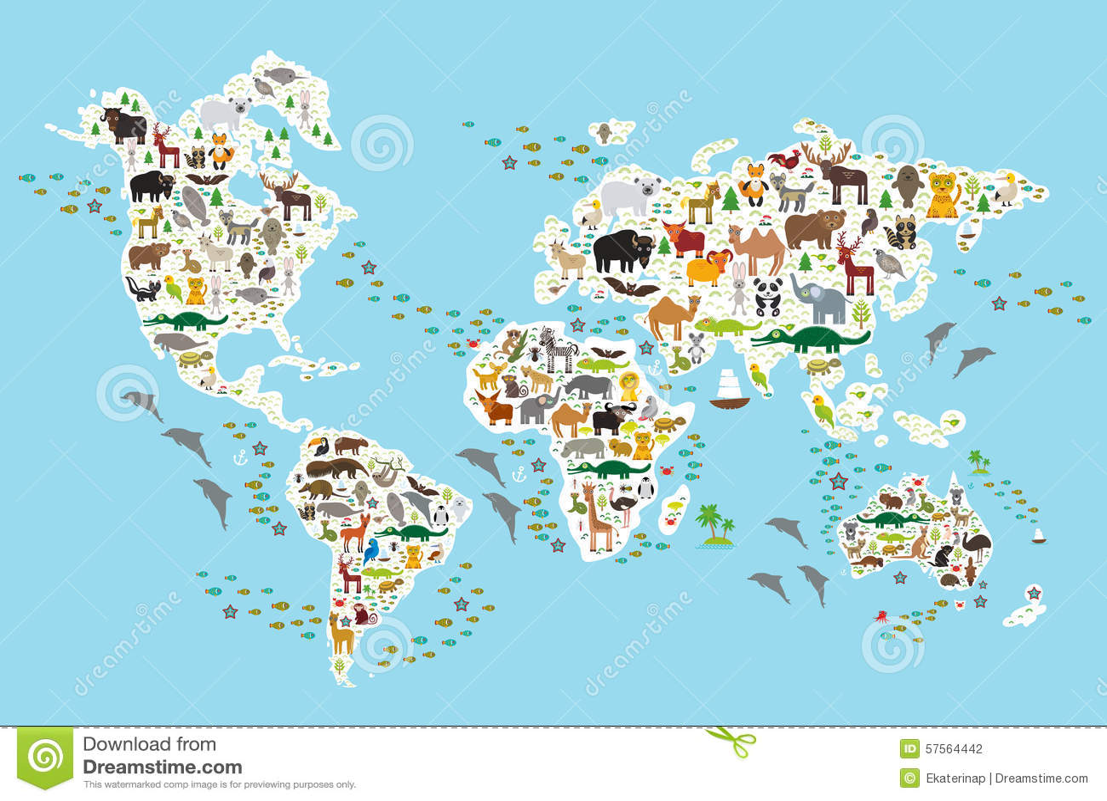 Mapa del mundo animal de la historieta para los ni os y for Mapa del mundo decoracion