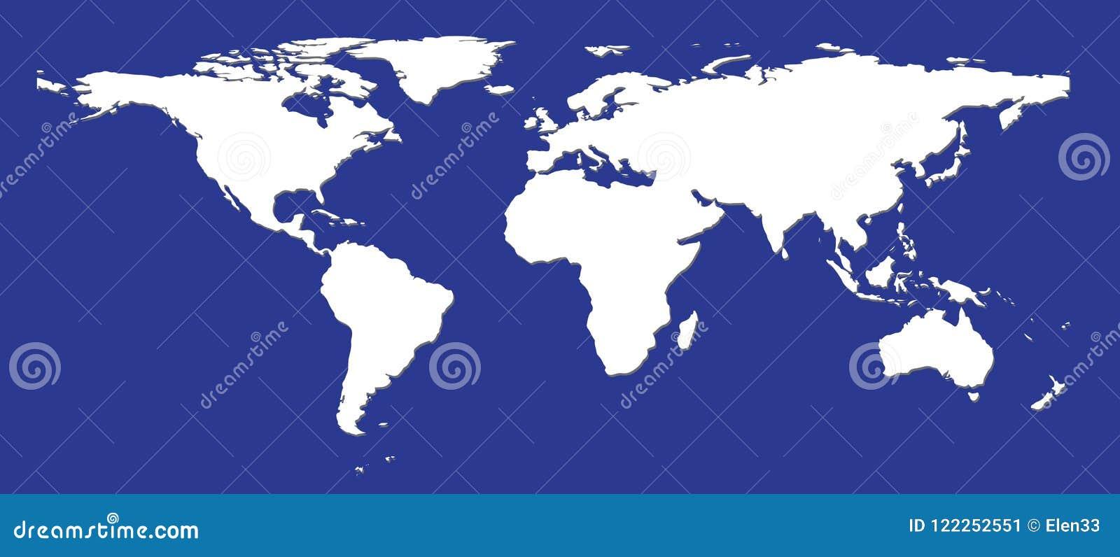 Mapa del mundo blanco plano