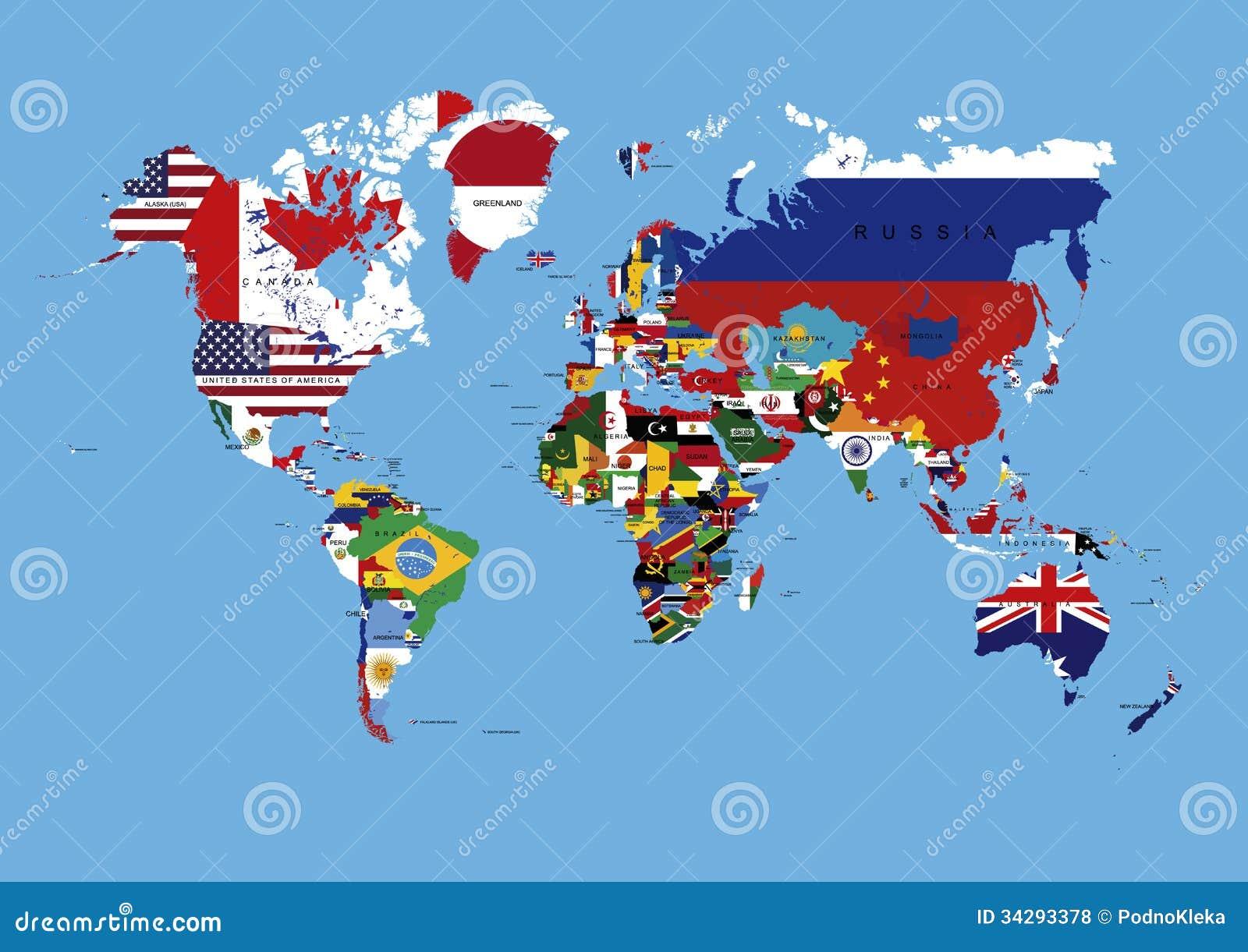 Mapa Del Mundo Coloreado En Banderas Y Nombres De Paises Stock De