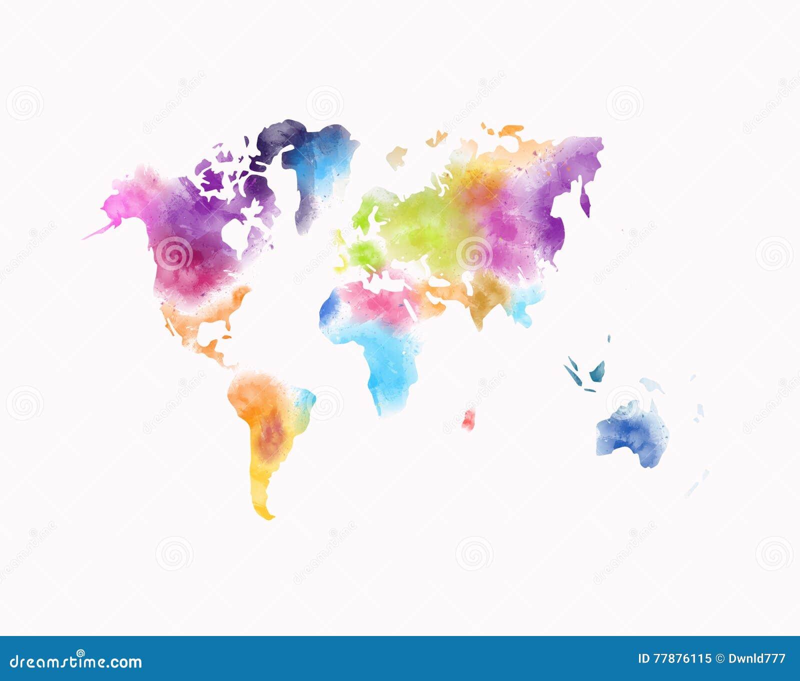 Mapa Del Mundo Colorido De La Acuarela Aislado En Blanco Stock de ilustración