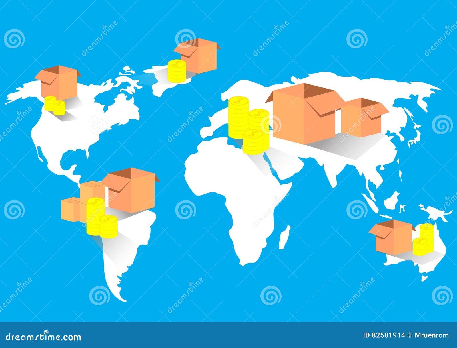 Mapa del mundo comercial global de la importaci n de la for International decor images