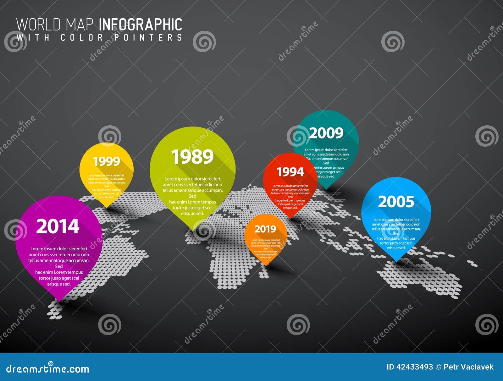 Mapa del mundo con las marcas del indicador