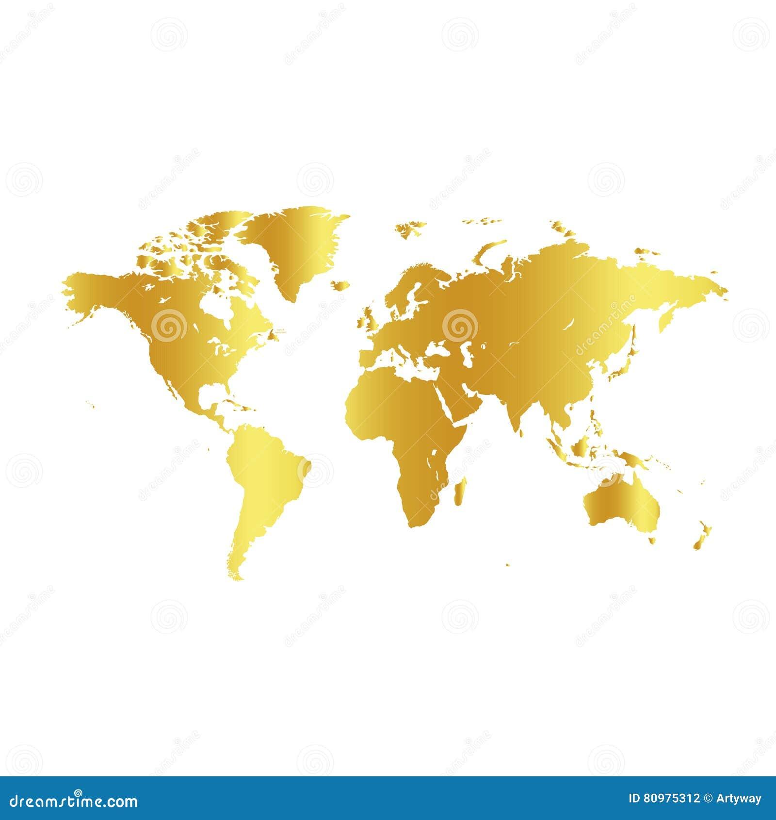Mapa del mundo de oro del color en el fondo blanco - Papel pintado mapa del mundo ...