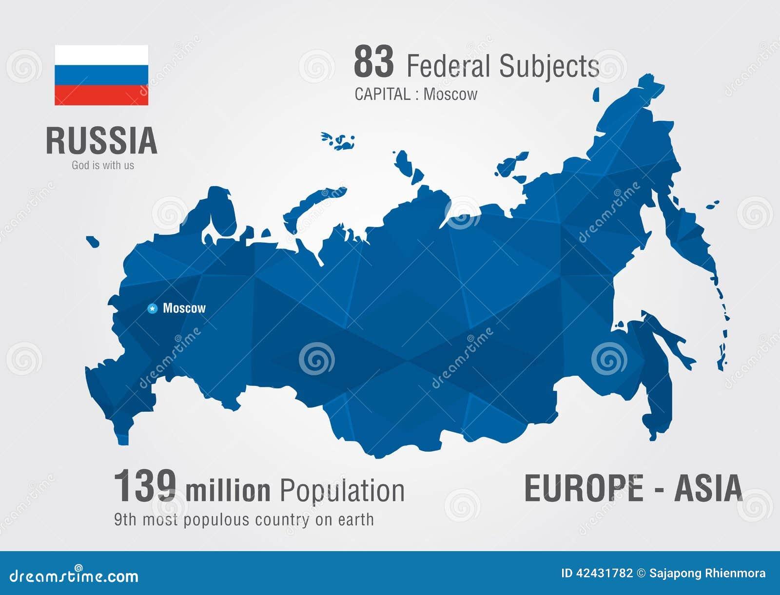 Mapa del mundo de Rusia con un modelo del diamante del pixel