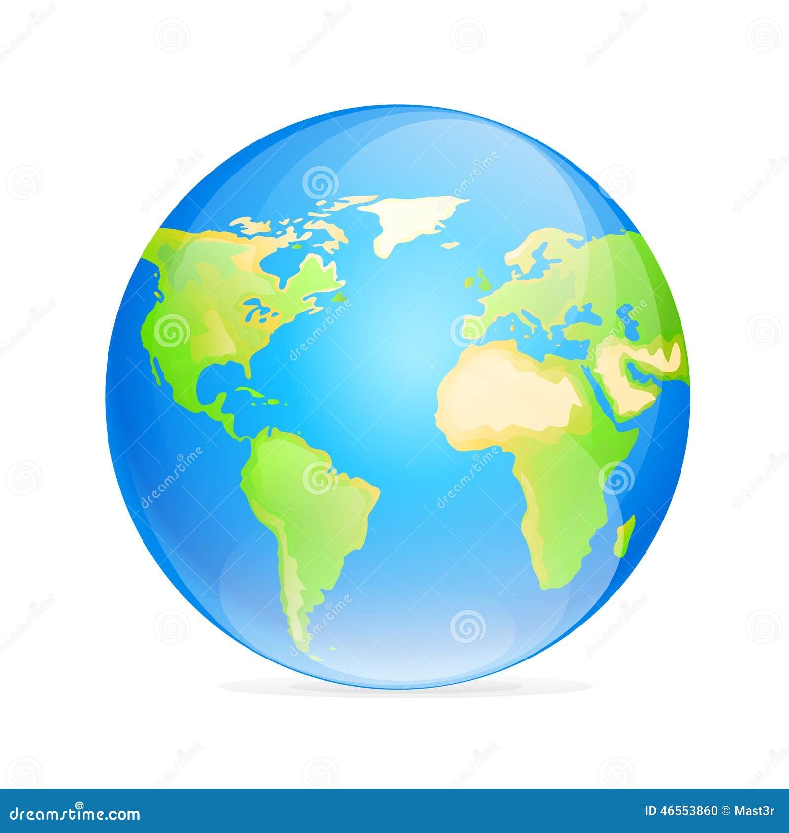 Mapa Del Mundo Del Color Del Icono Del Globo Del Vector Stock De