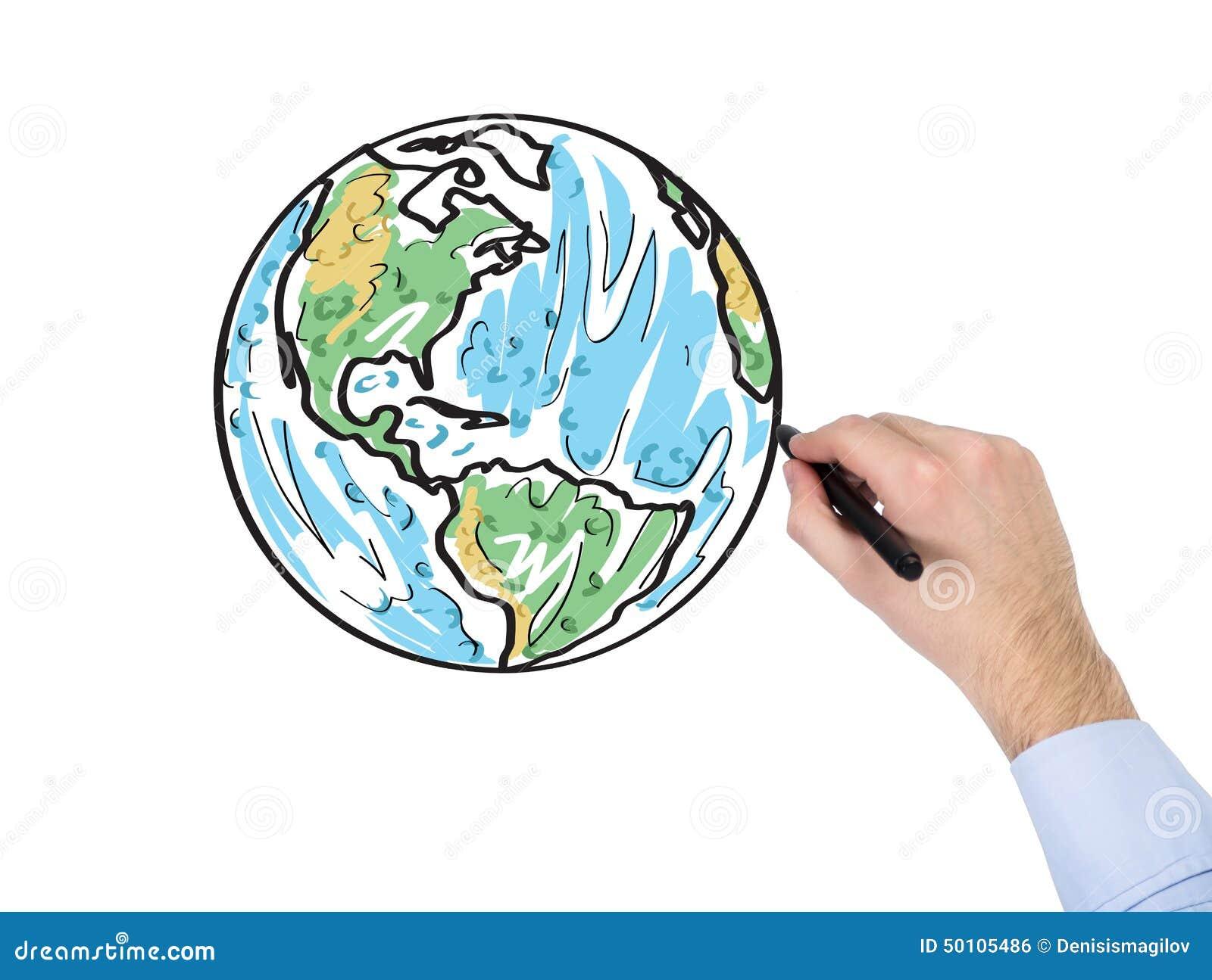 Mapa Del Mundo Del Dibujo De La Mano Stock De Ilustración