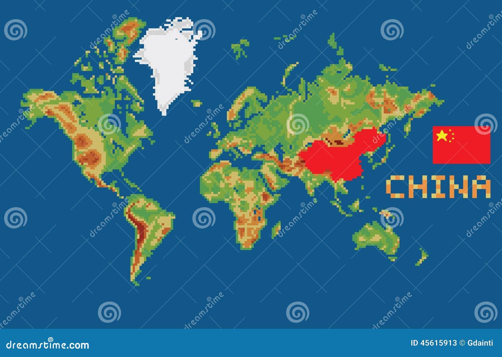 Mapa Del Mundo China.Mapa Del Mundo Del Estilo Del Arte Del Pixel Con Las Fronteras De China De La Forma Ilustracion Del Vector Ilustracion De Mundo Arte 45615913