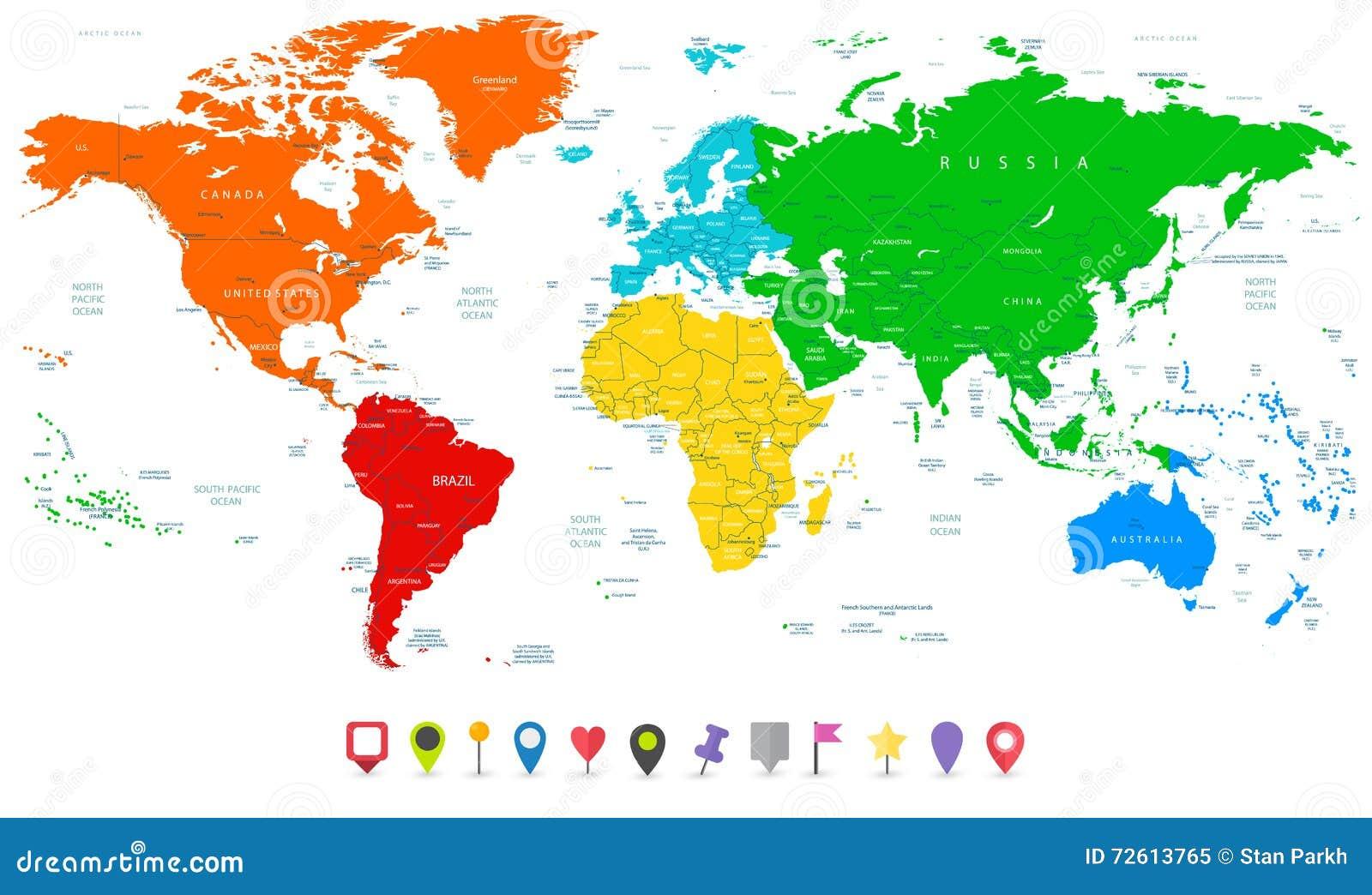 Mapa del mundo detallado del vector con los continentes for Mapa del mundo decoracion