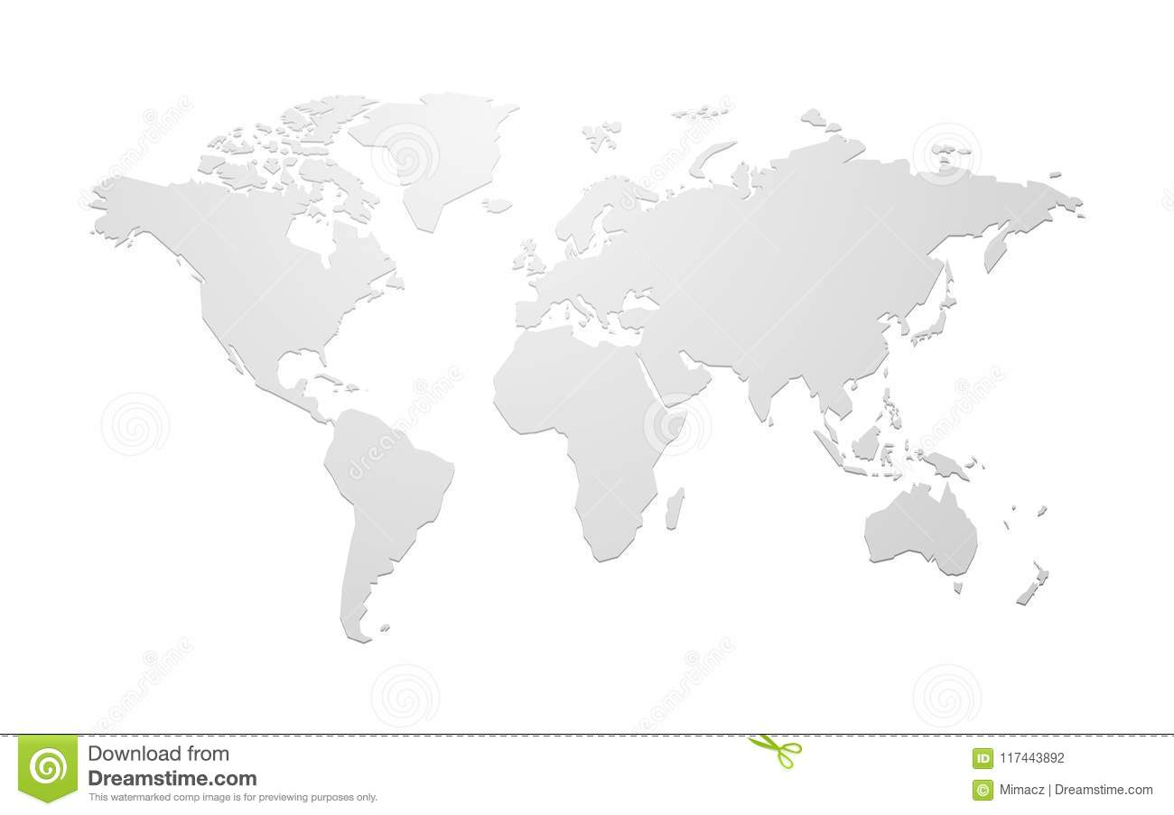 Mapa del mundo en blanco simple del vector