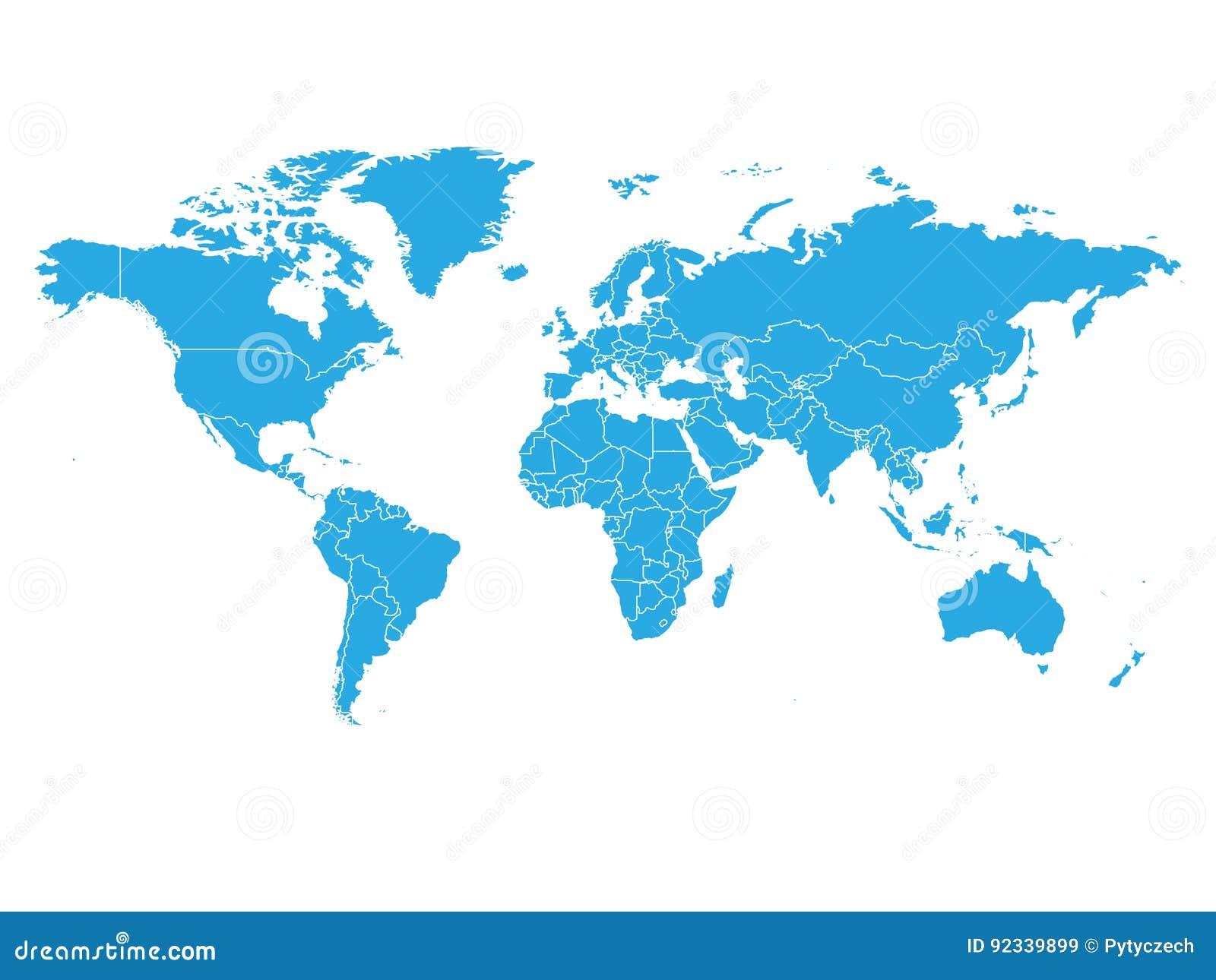 Mapa del mundo en color azul en el fondo blanco Mapa político del alto espacio en blanco del detalle Ejemplo del vector con el co