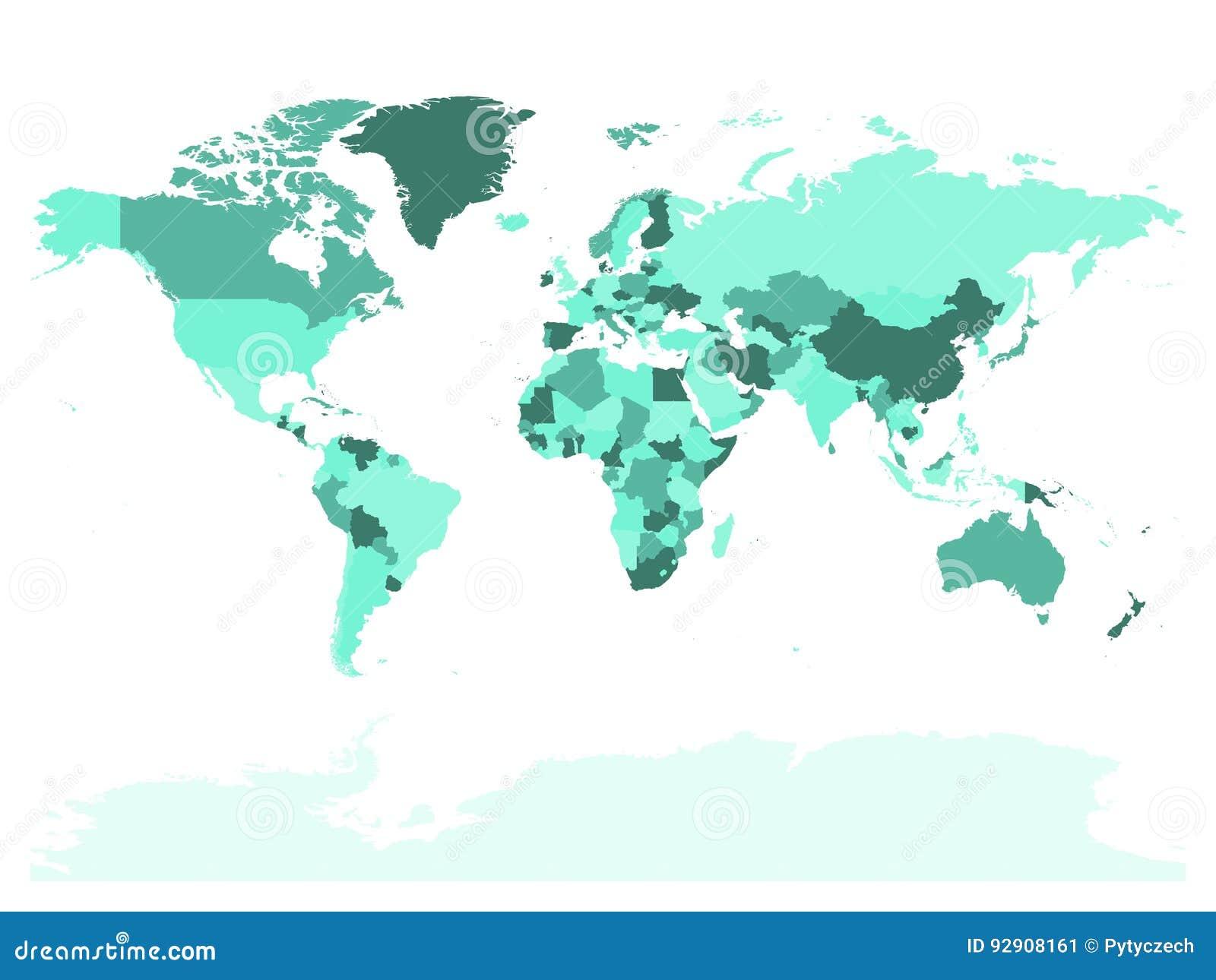 Mapa del mundo en cuatro sombras de turquesa en el fondo blanco Mapa político del alto espacio en blanco del detalle Ejemplo del