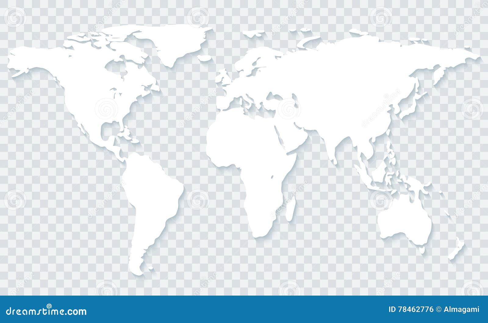 Mapa Del Mundo En Fondo Transparente Foto De Archivo