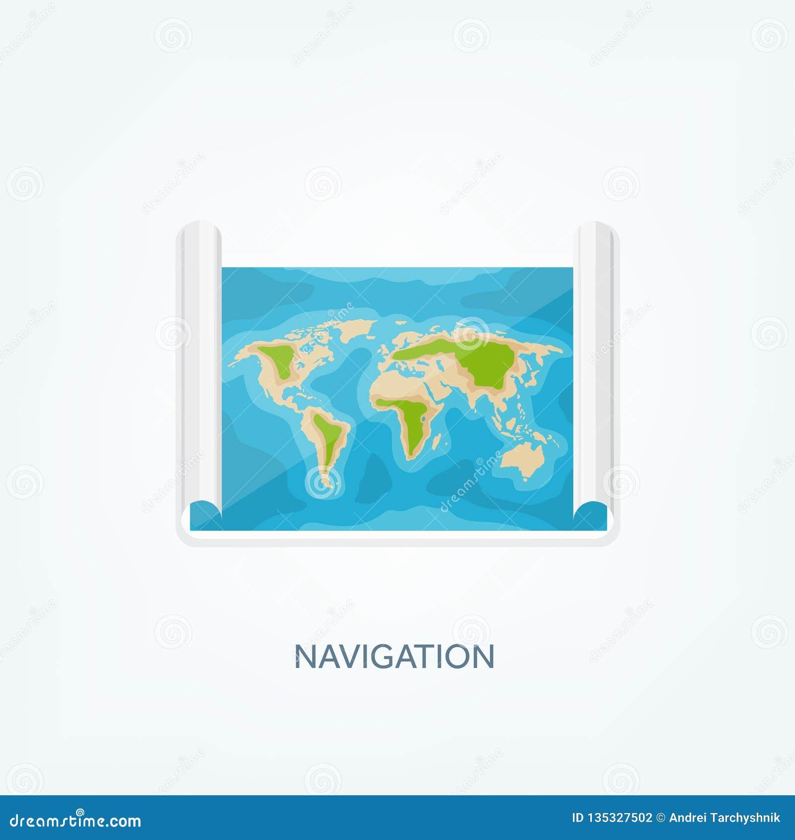 Mapa del mundo en un estilo plano Tierra, globo nearsighted Ruta y destino icono
