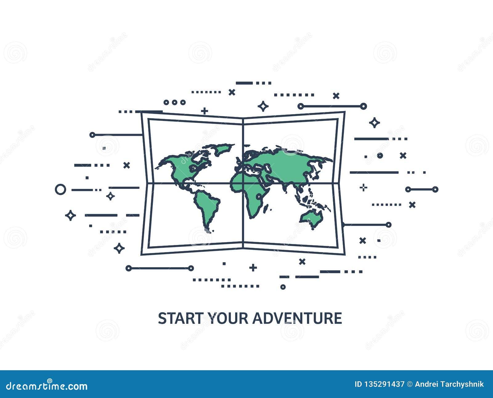 Mapa del mundo en un estilo plano Tierra, globo nearsighted Ruta y destino icono Línea arte alineado