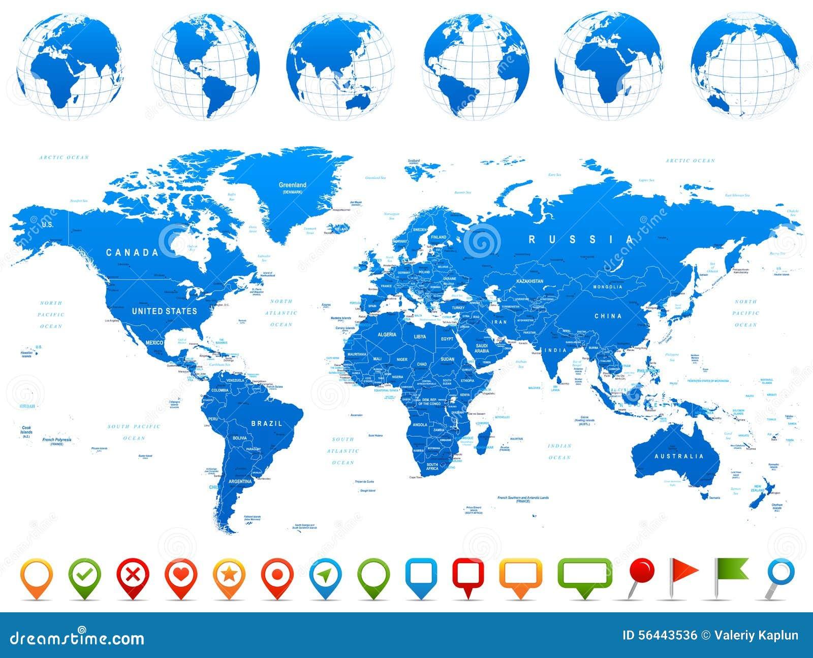 Mapa del mundo, globos, continentes, iconos de la navegación - ejemplo