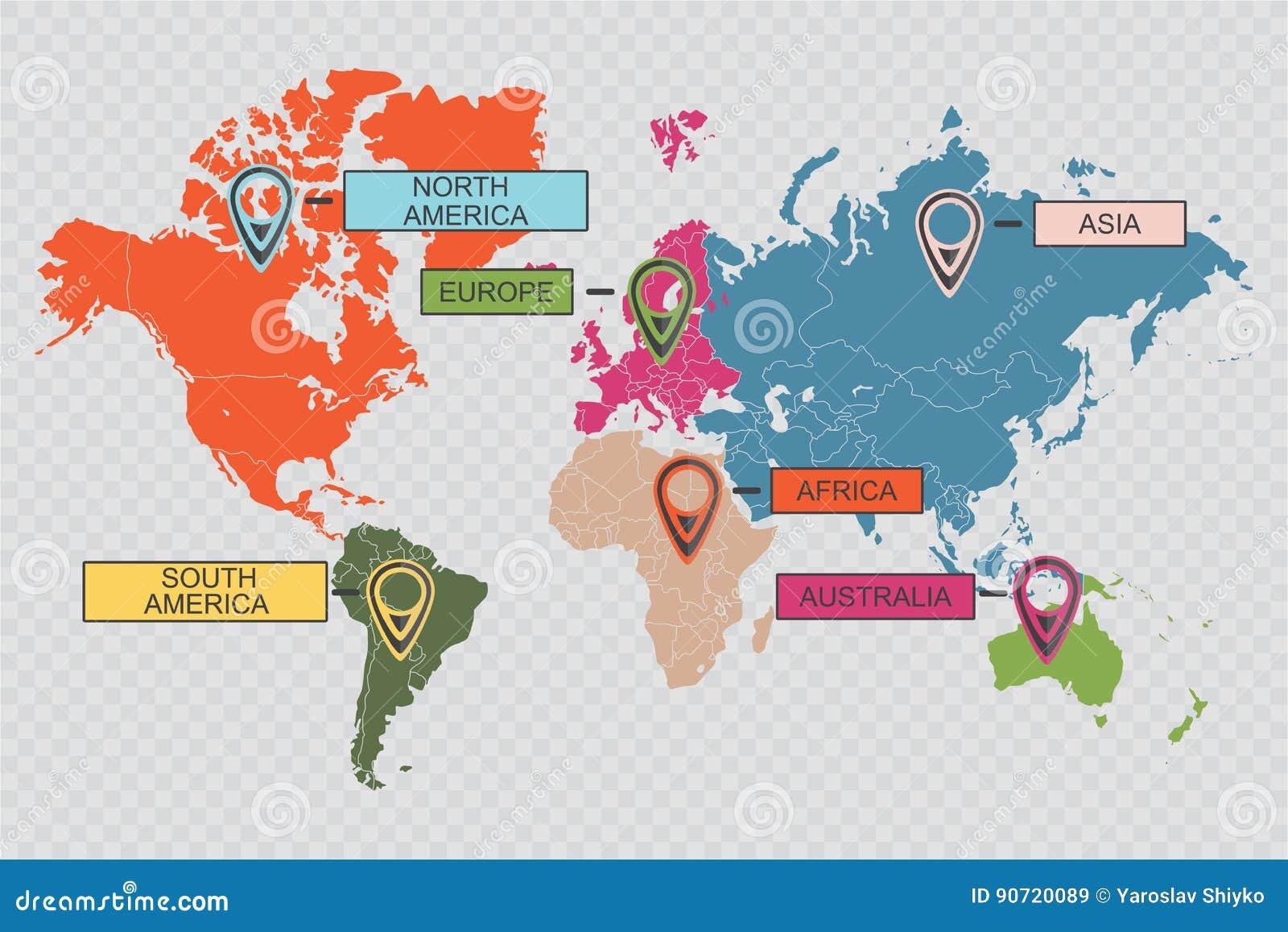 Mapa Del Mundo Internacional Con Los Indicadores Coloridos ...