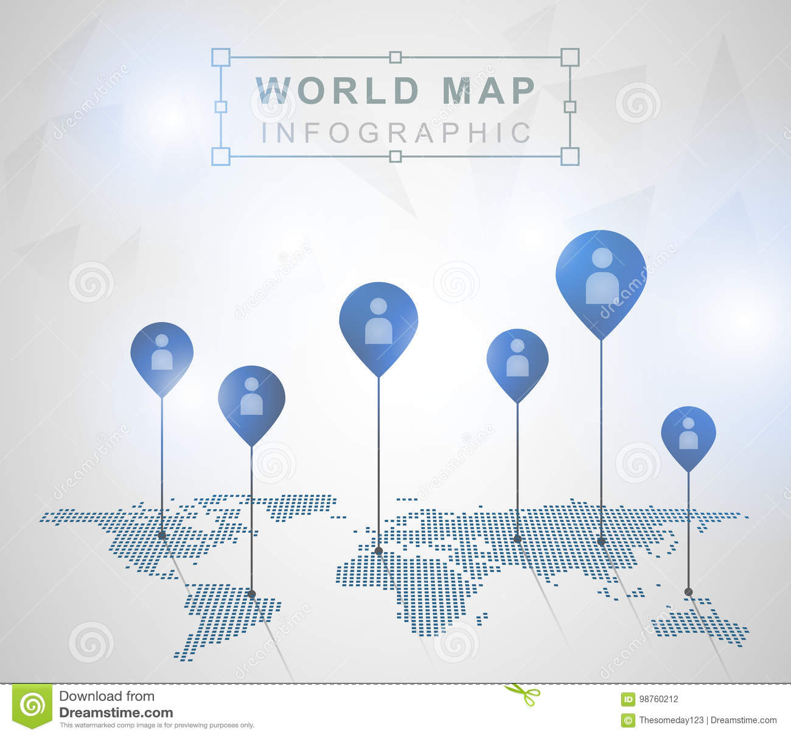 Mapa del mundo ligero con las marcas del indicador