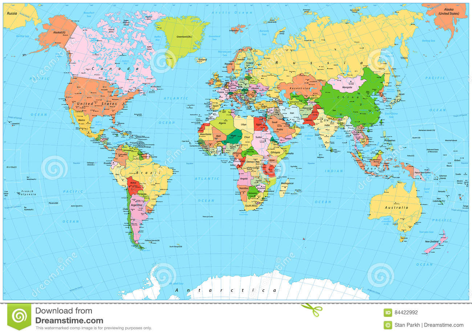 Mapa del mundo político detallado grande con los objetos del agua