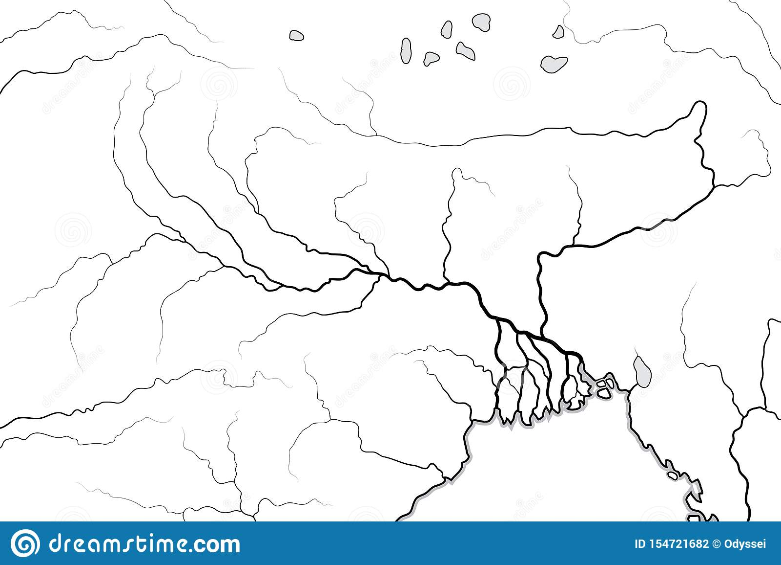 Mapa del mundo del valle y del delta del RÍO GANGES: La India, Nepal, Bengala, Bangladesh Carta geográfica