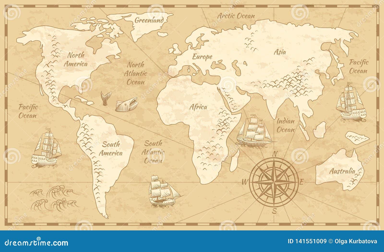 Mapa del mundo del vintage Mapa antiguo del papel de la antigüedad del mundo con fondo navegante del globo del vector del mar del
