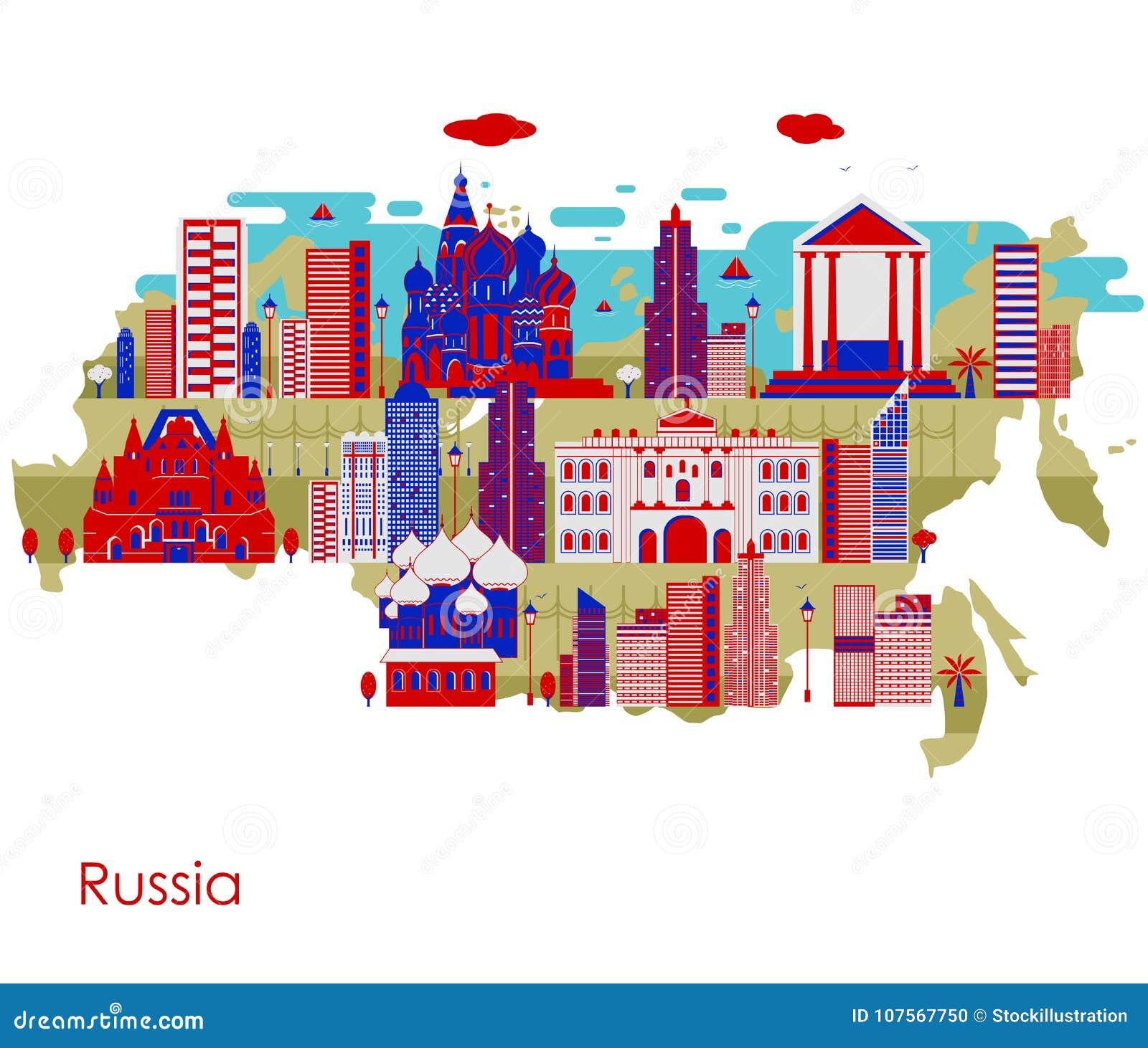 Mapa del país Rusia con el edificio y el monumento famoso