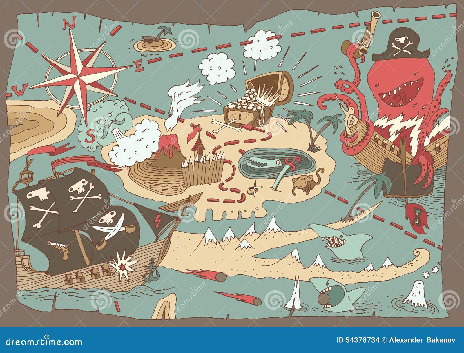 Mapa Del Tesoro De La Isla Mapa Del Pirata Ejemplo Stock