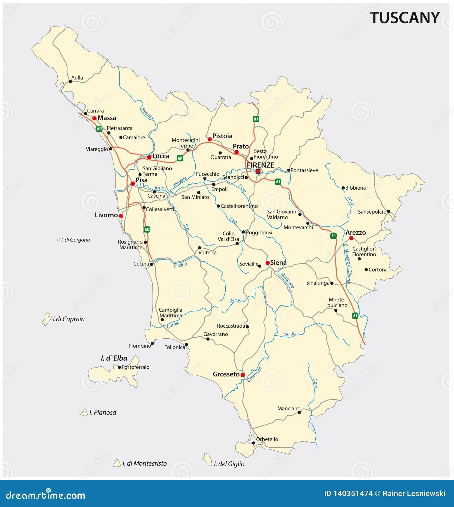 La Toscana Italia Mapa.Mapa Del Vector Del Camino De La Region Italiana Toscana