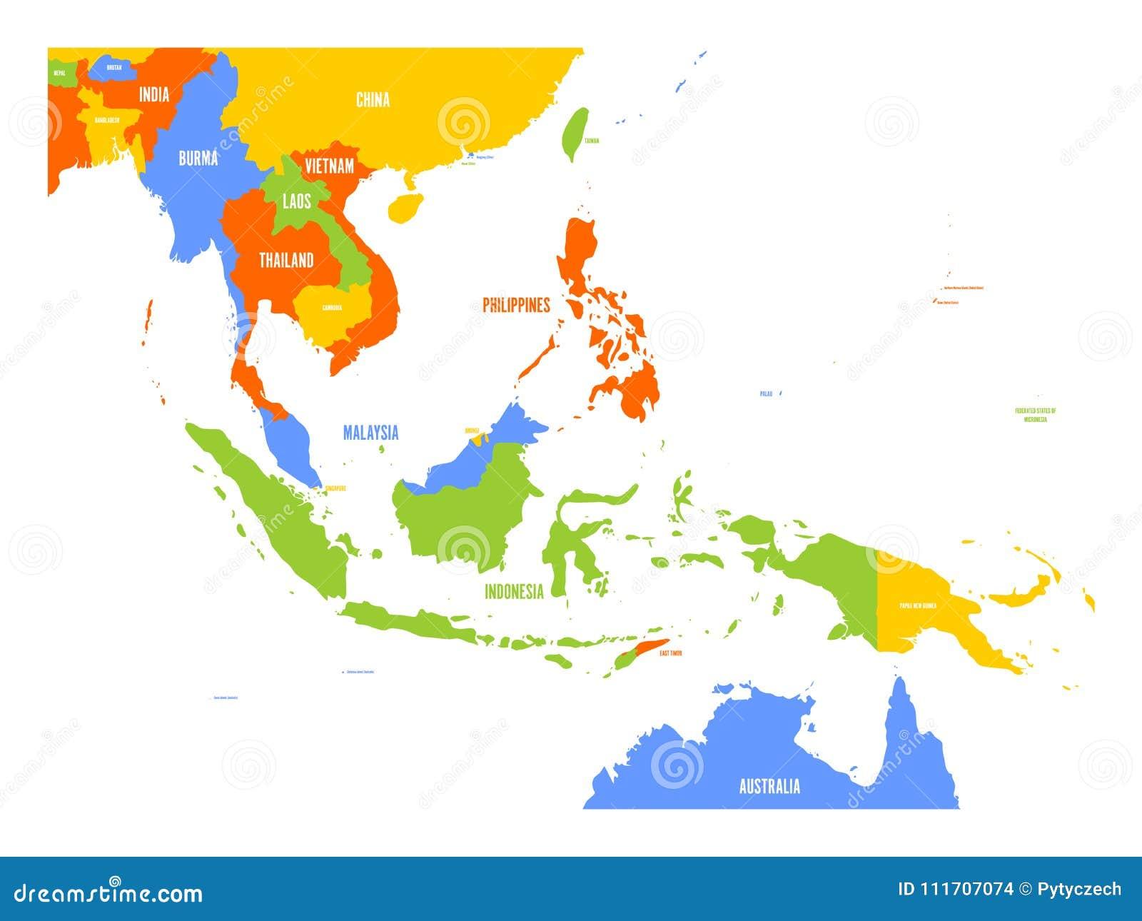 Mapa del vector de Asia sudoriental