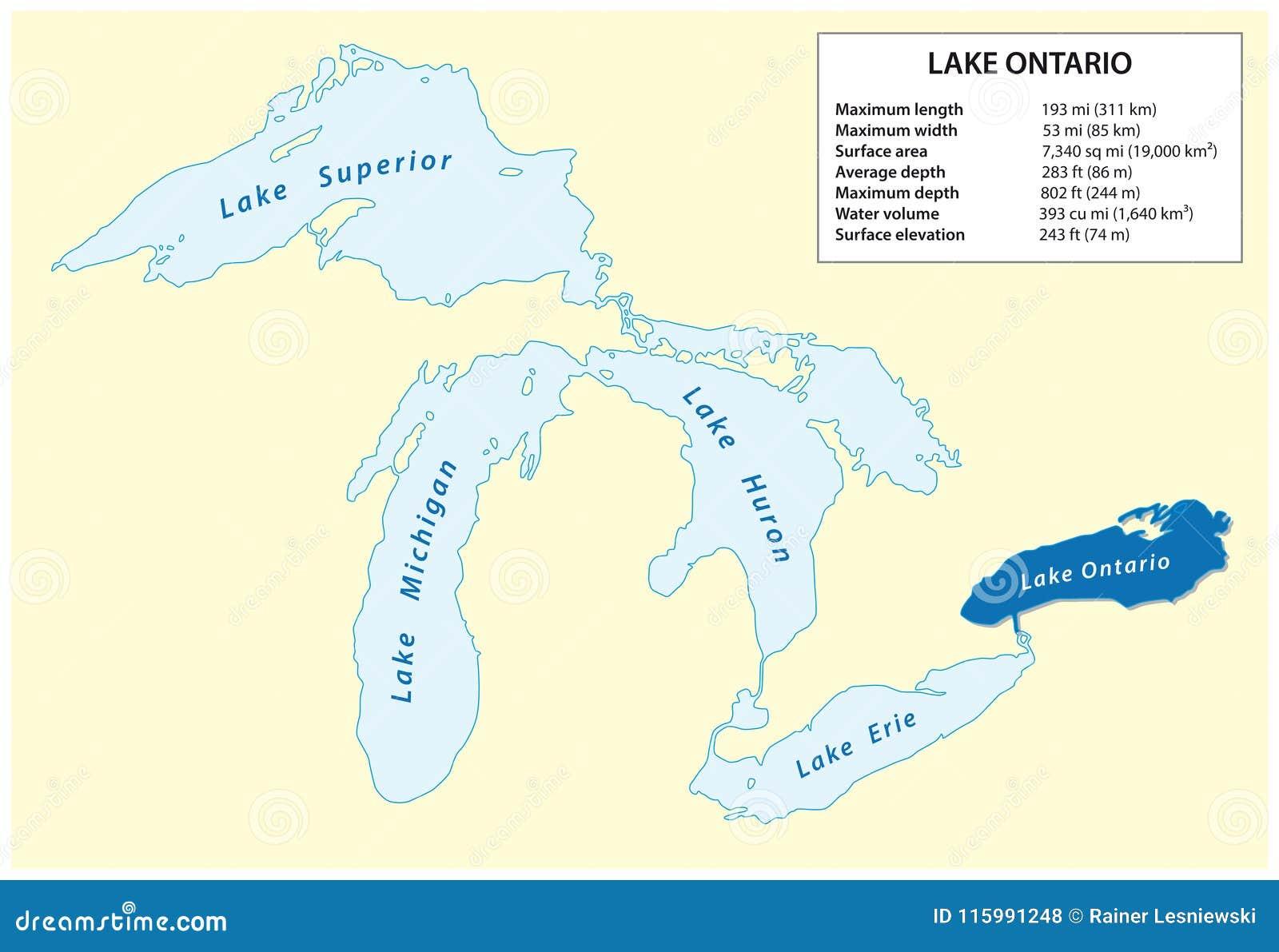 Mapa del vector de información del lago Ontario en Norteamérica