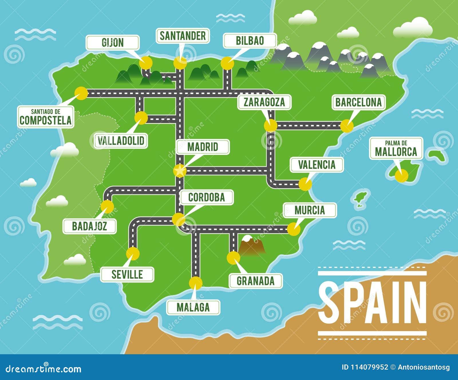 Mapa Del Vector De La Historieta De Espana Ejemplo Del Viaje Con