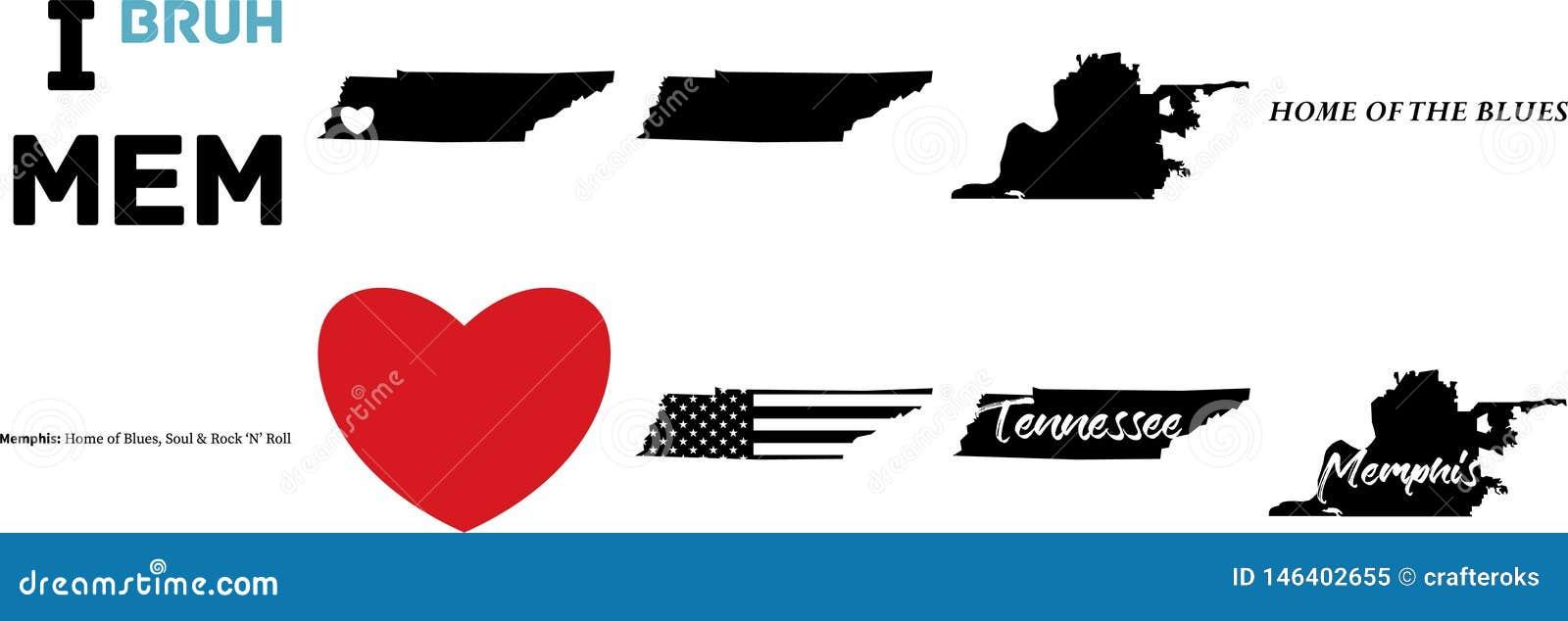 Mapa del vector de Memphis Tennessee con la bandera americana