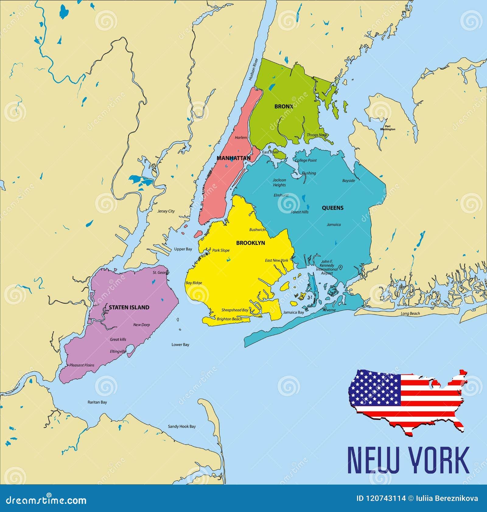 mapa del vector de nueva york ilustraci u00f3n del vector