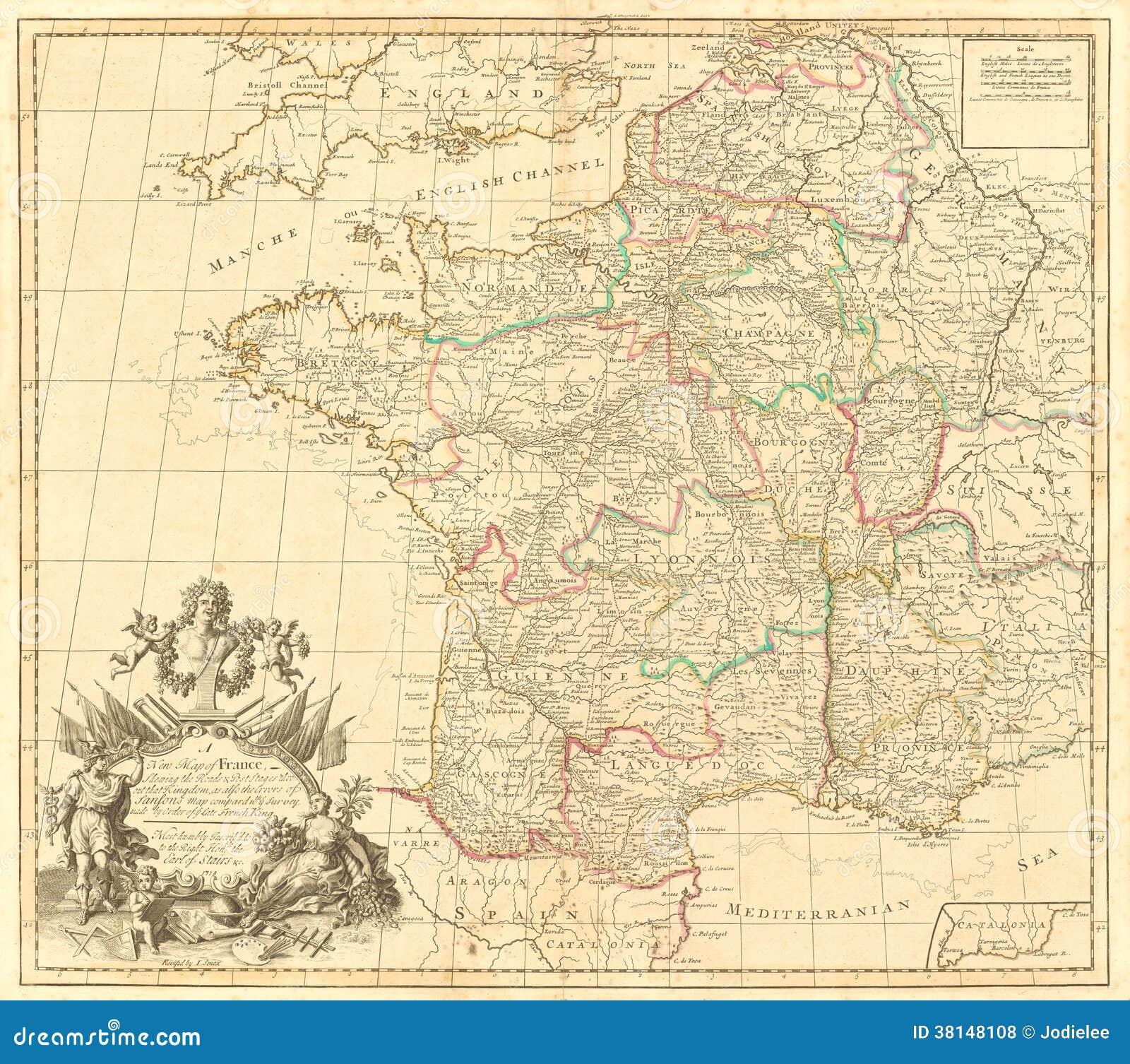 Mapa del vintage de Francia
