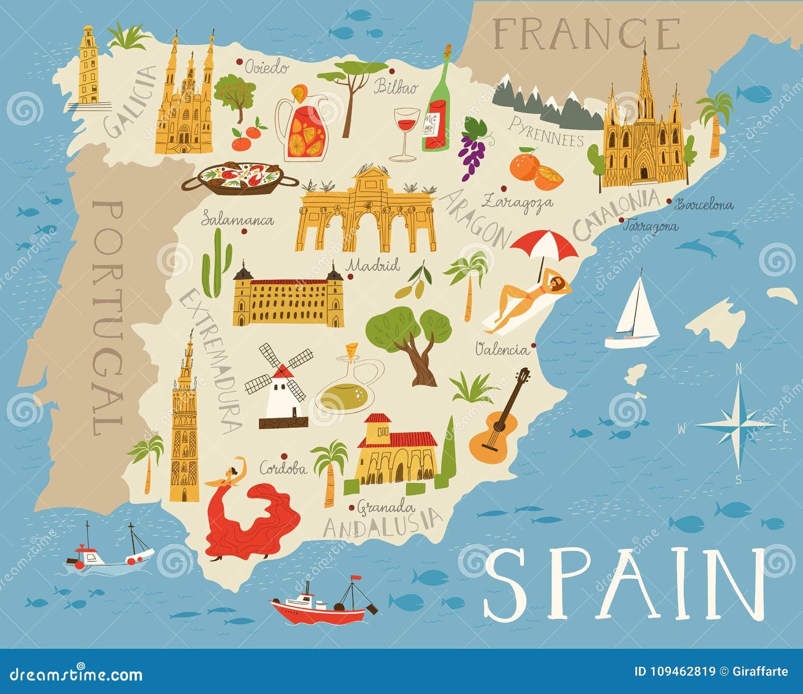 Mapa Detalhado Alto Da Espanha Ilustracao Do Vetor Ilustracao De