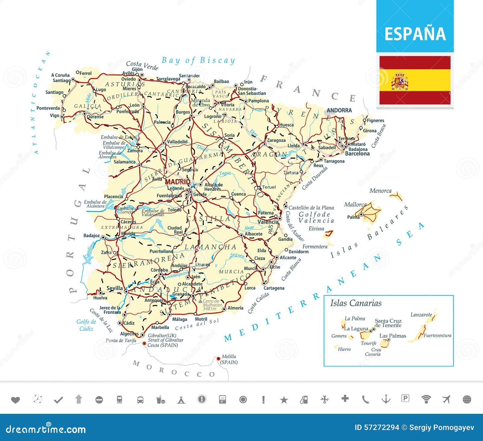 Mapa Detalhado Da Espanha Ilustracao Do Vetor Ilustracao De