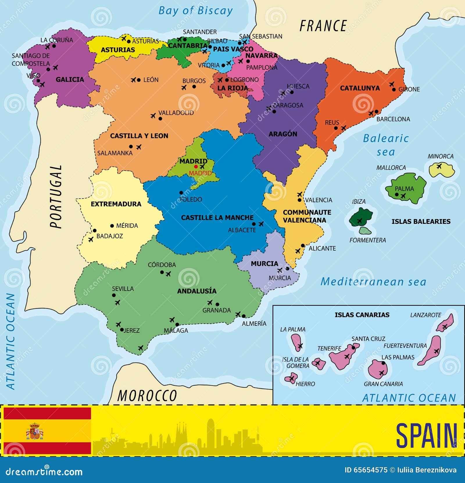aeroportos em espanha mapa Mapa Detalhado Do Vetor Da Espanha Imagem de Stock   Imagem de  aeroportos em espanha mapa